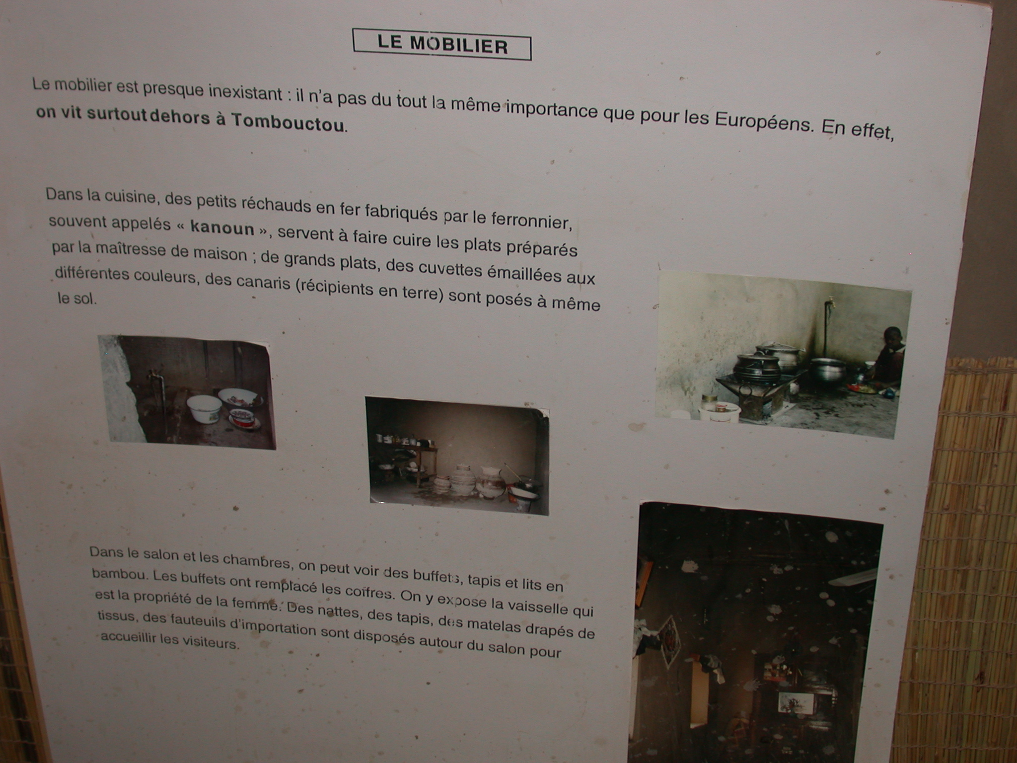 Furniture Description, Part I, Timbuktu Ethnological Museum, Timbuktu, Mali