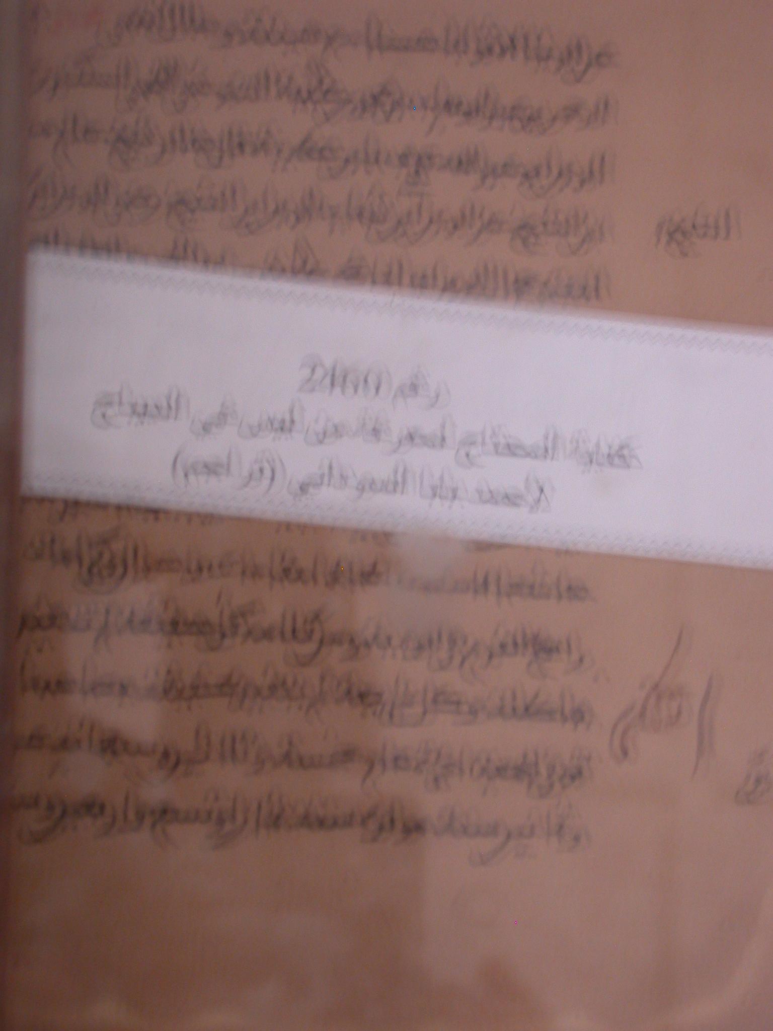 Blurry Photo of Manuscript, Detail, Ahmed Baba Institute, Institut des Hautes Etudes et de Recherches Islamiques, Timbuktu, Mali