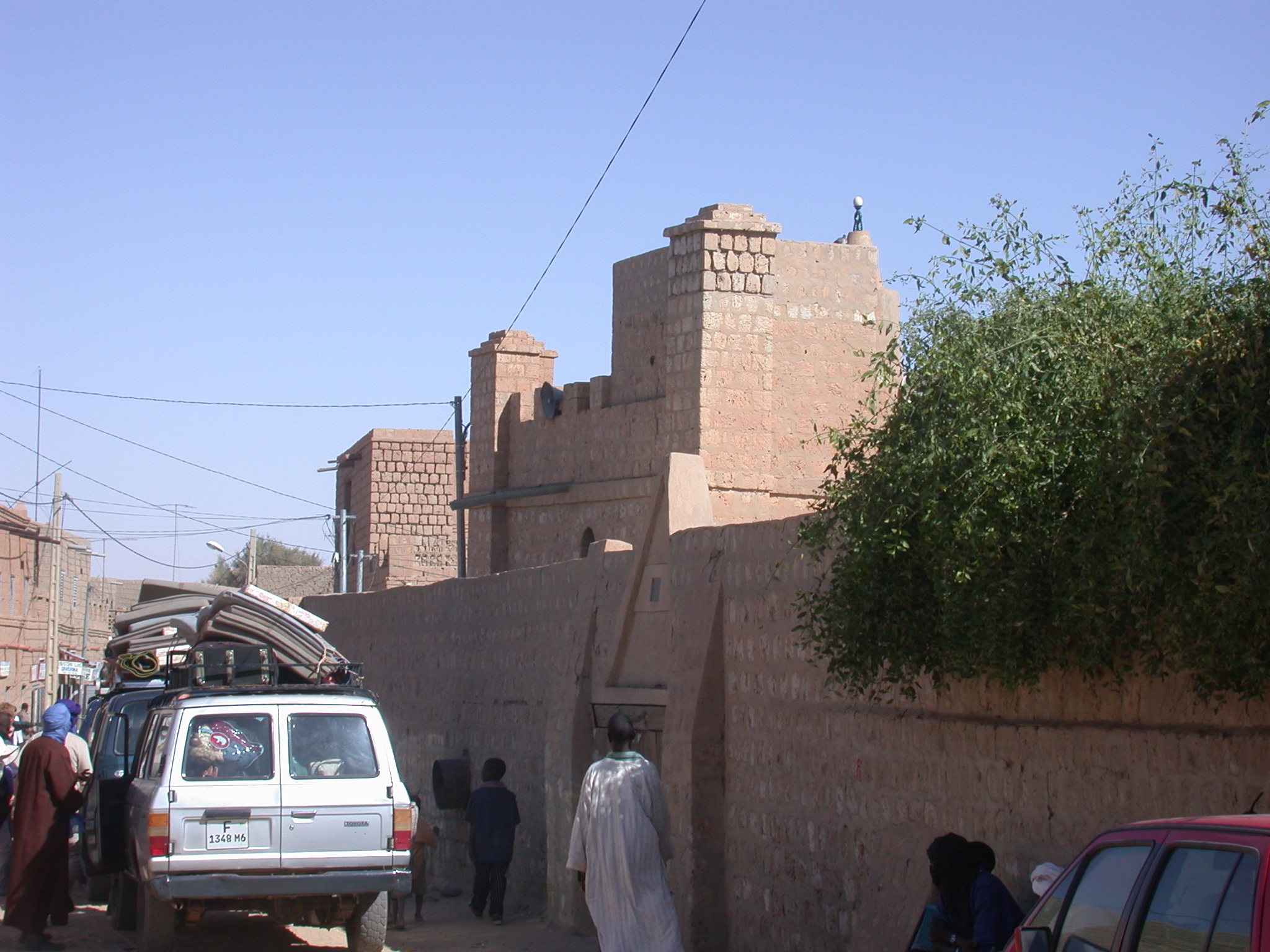 View of Ostrich-Egg on Minaret of Mosque, Town Square, Timbuktu, Mali
