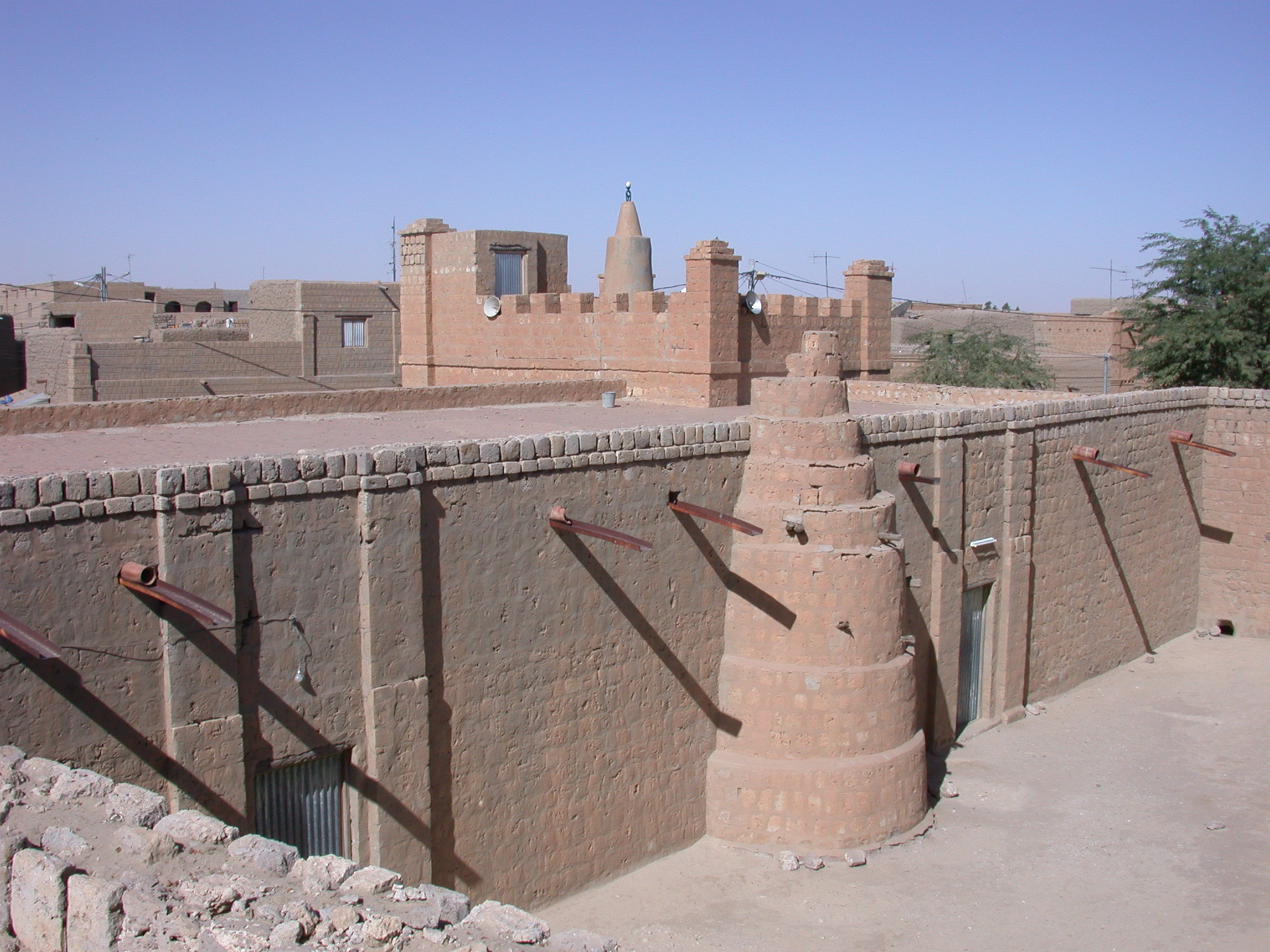 View of Ostrich-Egg on Minaret of Mosque, Timbuktu, Mali