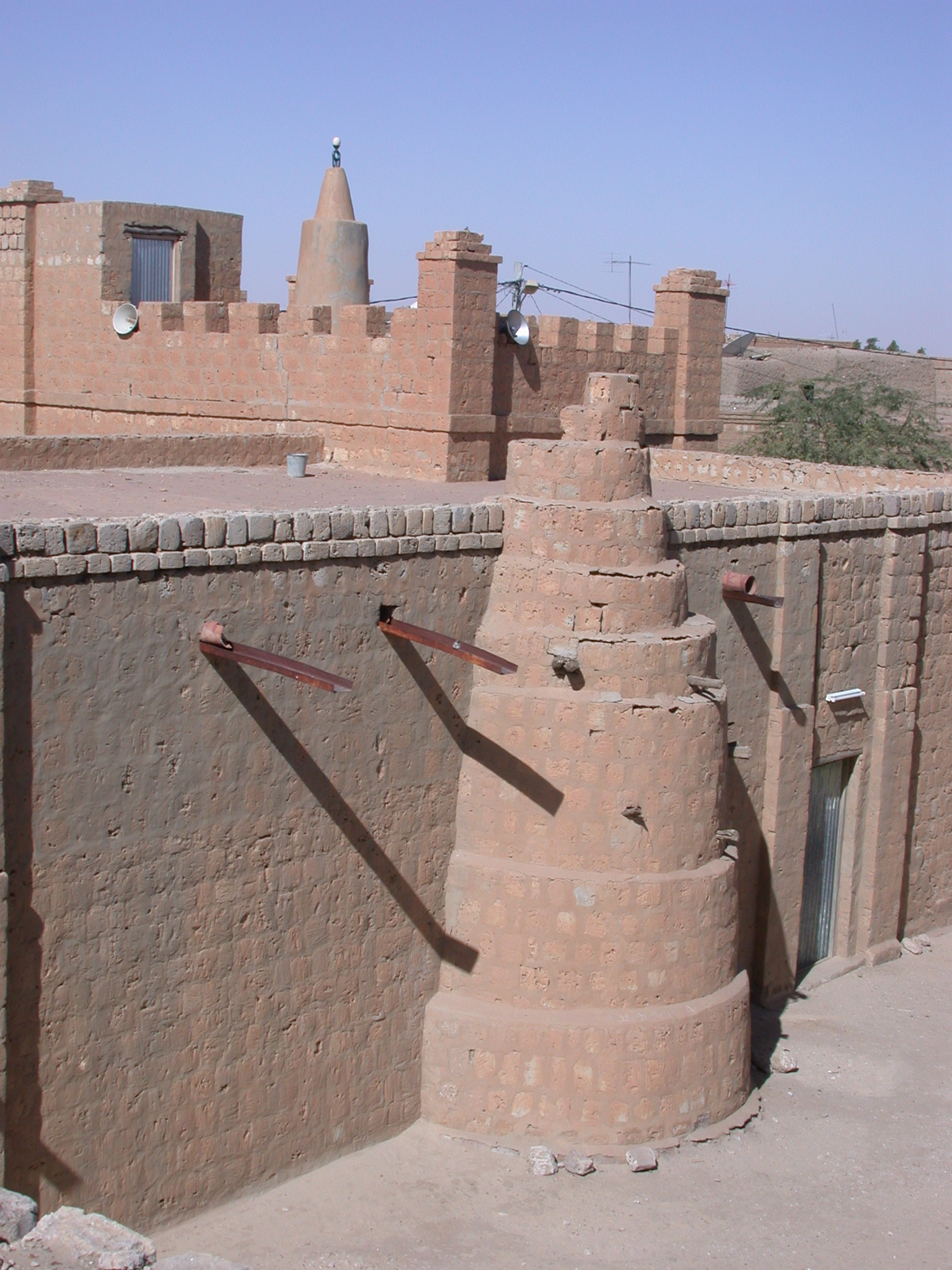 View of Ostrich-Egg on Minaret and Layered Tower of Mosque, Timbuktu, Mali