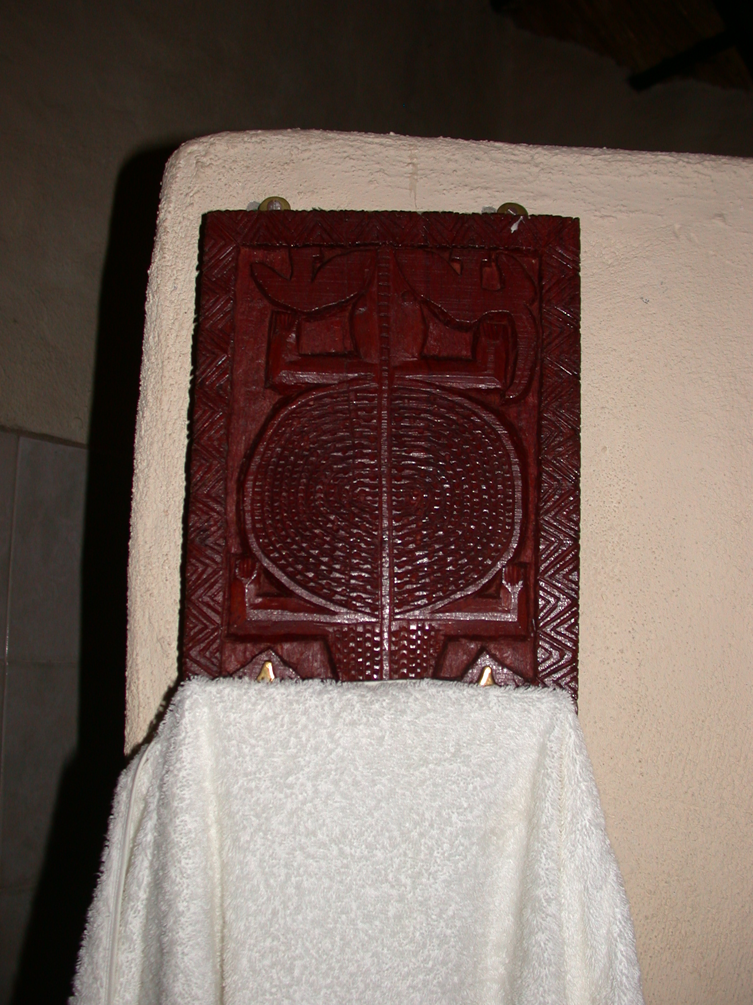 Towel Rack in Bathroom of My Suite at the Ancient City Lodge, Great Zimbabwe, Outside Masvingo, Zimbabwe
