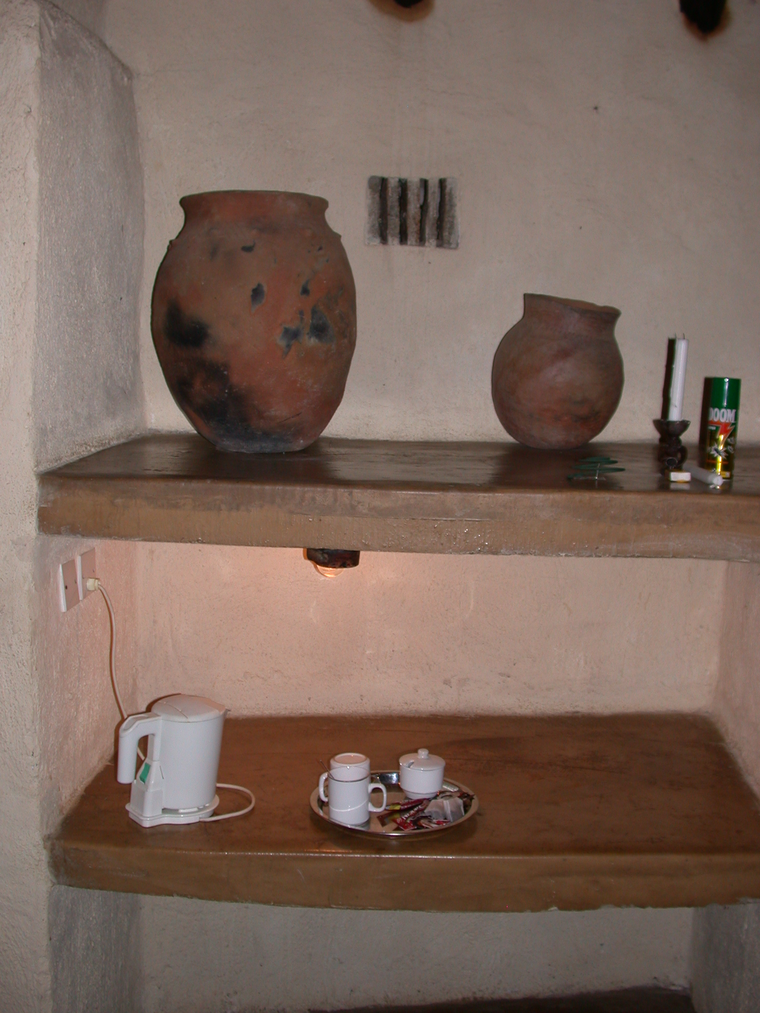 Shelves in My Suite at the Ancient City Lodge, Great Zimbabwe, Outside Masvingo, Zimbabwe