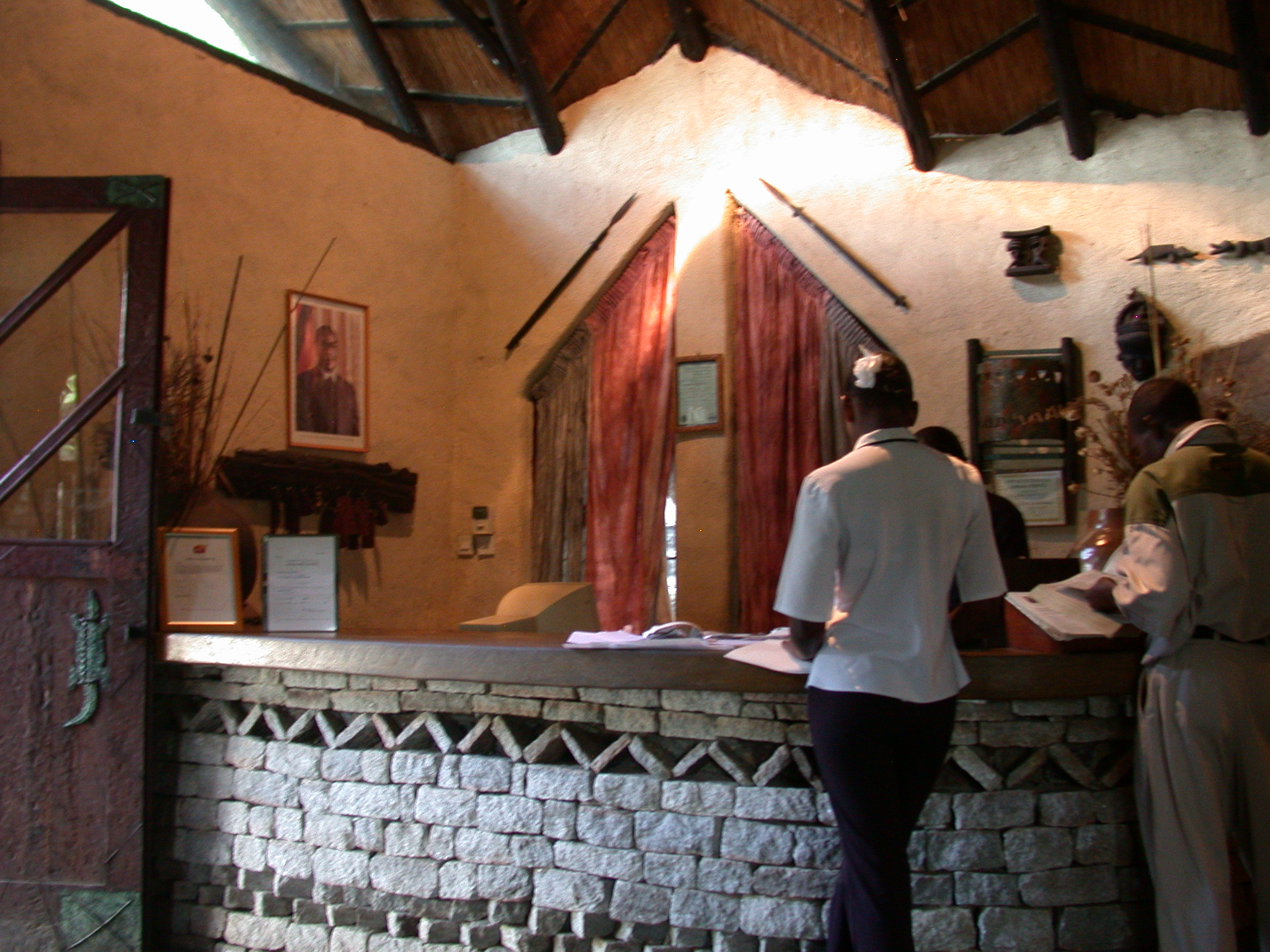 Reception Desk at the Ancient City Lodge, Great Zimbabwe, Outside Masvingo, Zimbabwe