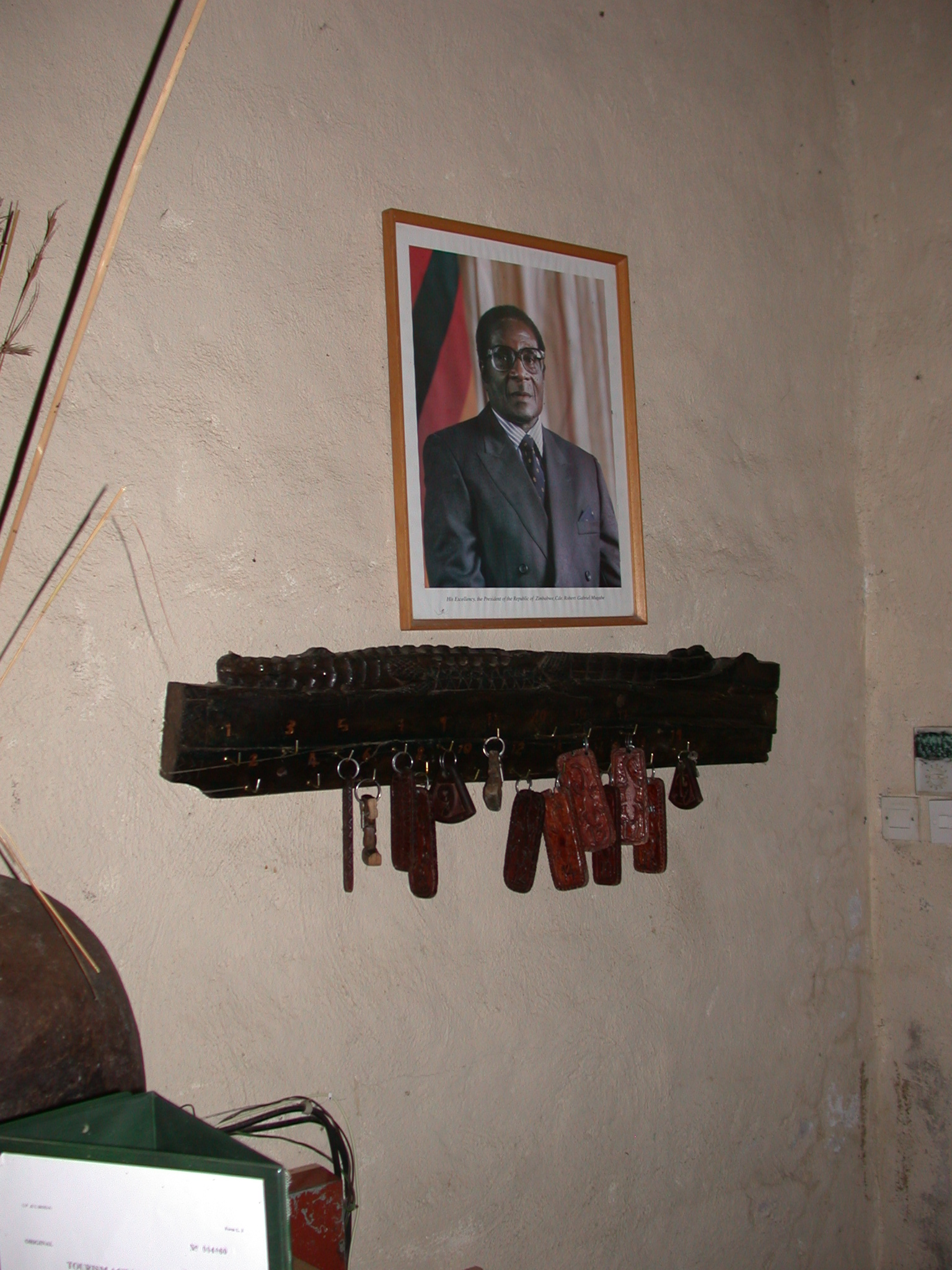 Photograph of President Mugabe Behind Reception Desk at the Ancient City Lodge, Great Zimbabwe, Outside Masvingo, Zimbabwe