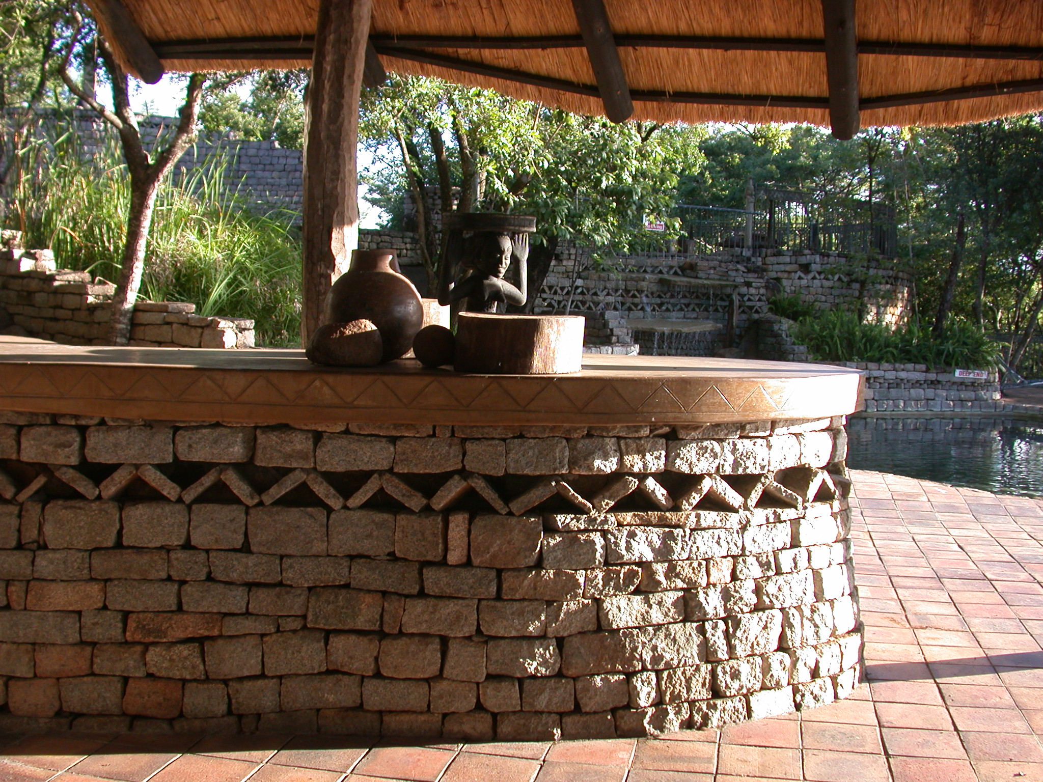 Patio Near Swimming Pool at the Ancient City Lodge, Great Zimbabwe, Outside Masvingo, Zimbabwe