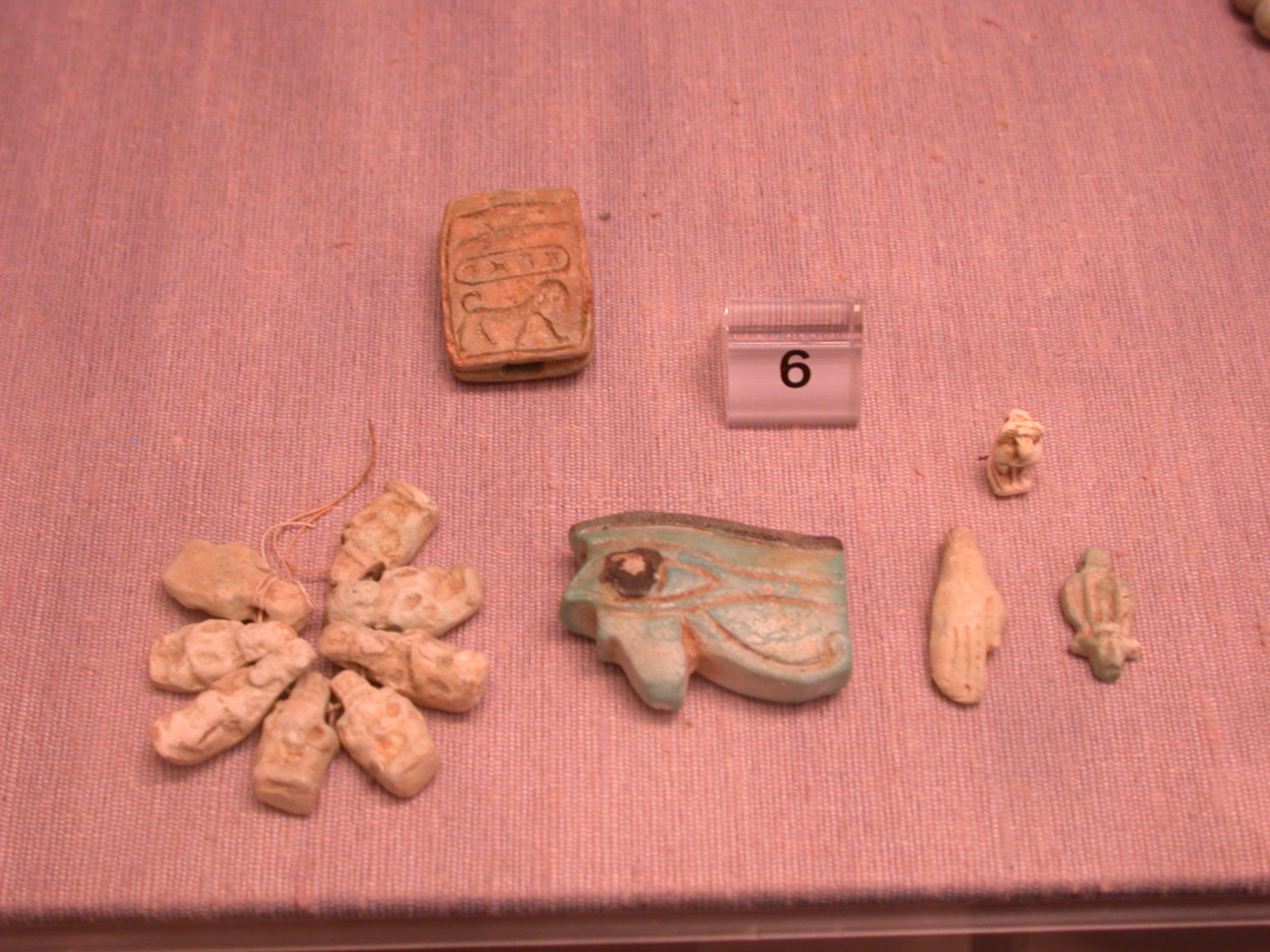 Faience Amulets in the Form of Wedjat Eyes, a Hand, a Sistrum, Hathor and Bes Figures, 25th Dynasty Sudan, Fitzwilliam Museum, Cambridge, England
