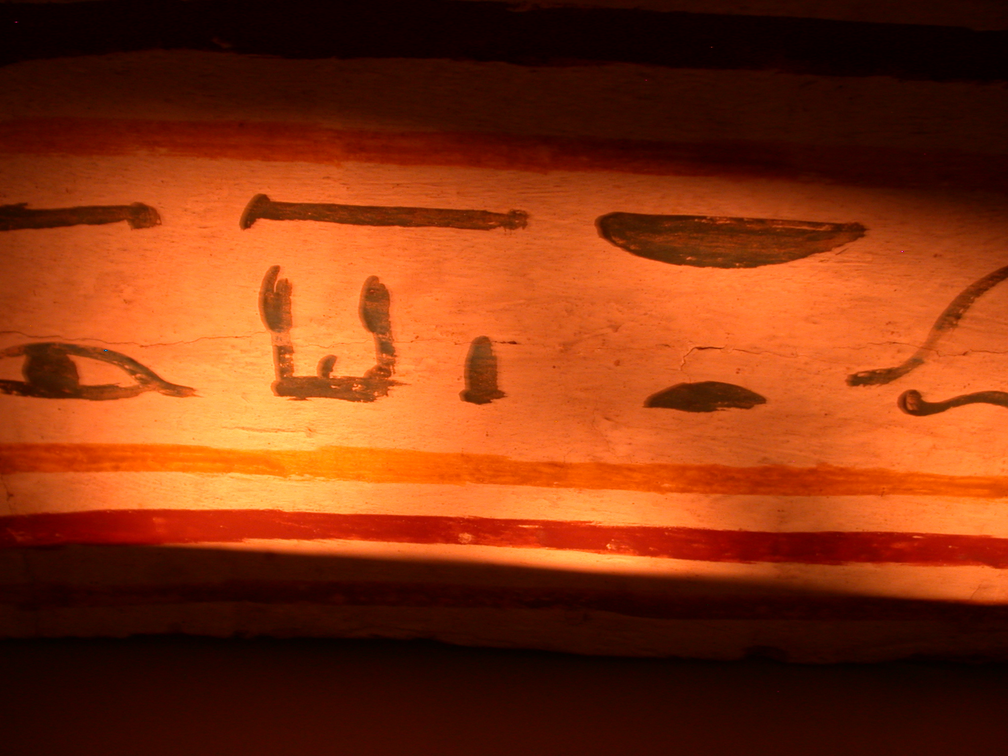 Hieroglyphs on Bottom of Exterior Coffin of Pakepu, Water Carrier, West Bank of Thebes, Egypt, in Fitzwilliam Museum, Cambridge, England