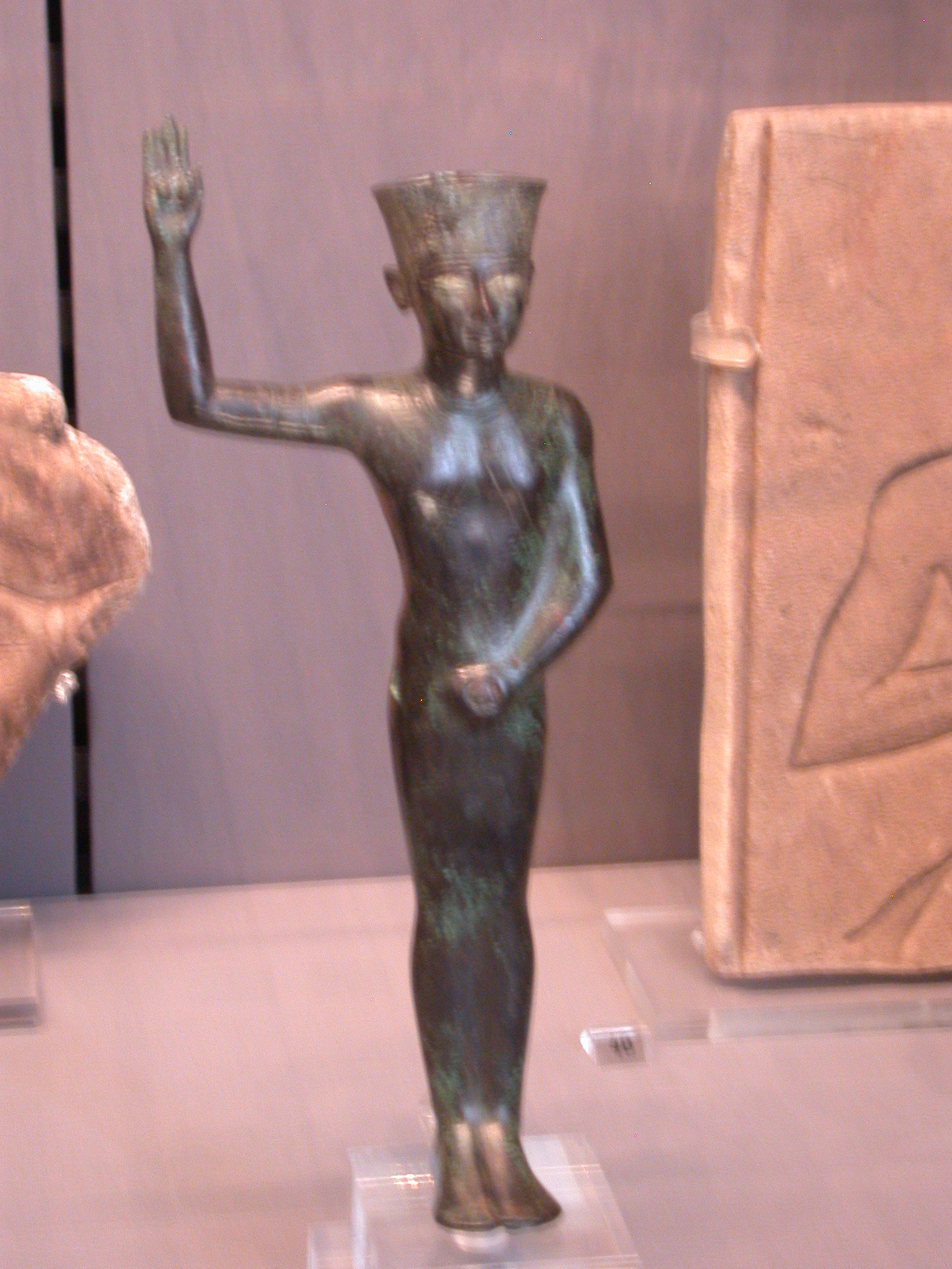 Ithyphallic Amun Min Figure, Copper Alloy, Late Period, 746-336 BCE, Egypt, in Fitzwilliam Museum, Cambridge, England
