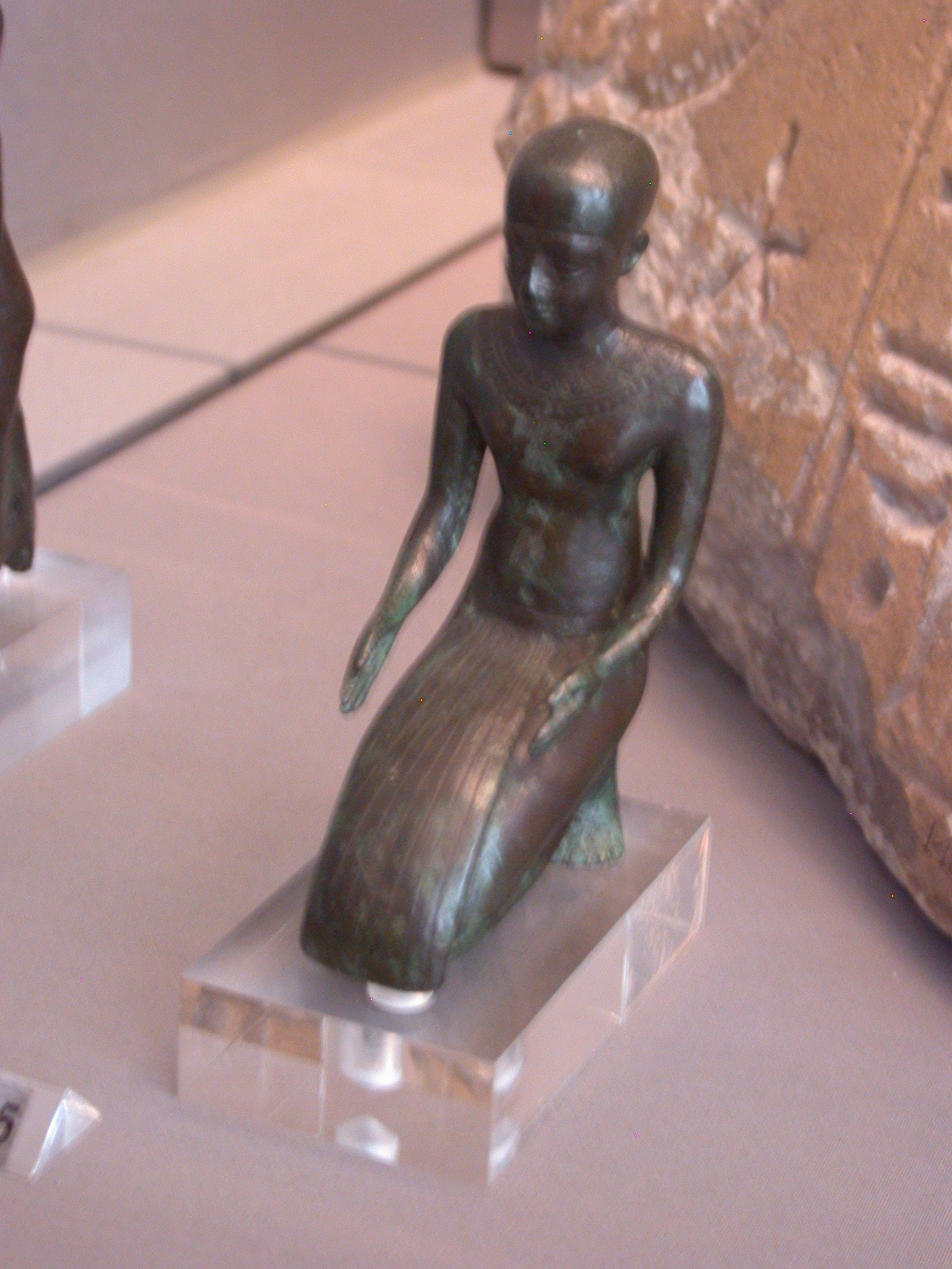 Kneeling Priest Figure, Copper Alloy, Late Period, 746-336 BCE, Egypt, in Fitzwilliam Museum, Cambridge, England