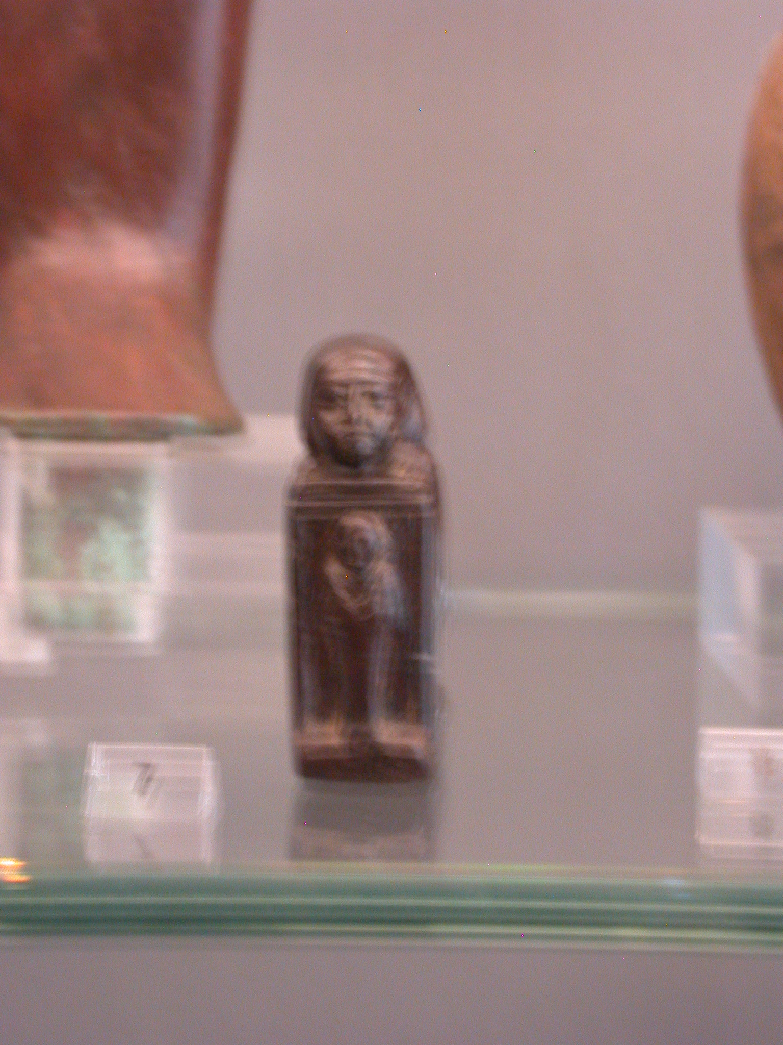 Kneeling Man Figure Holding Osiris Shrine, Serpentine, Late Period, 746-336 BCE, Egypt, in Fitzwilliam Museum, Cambridge, England