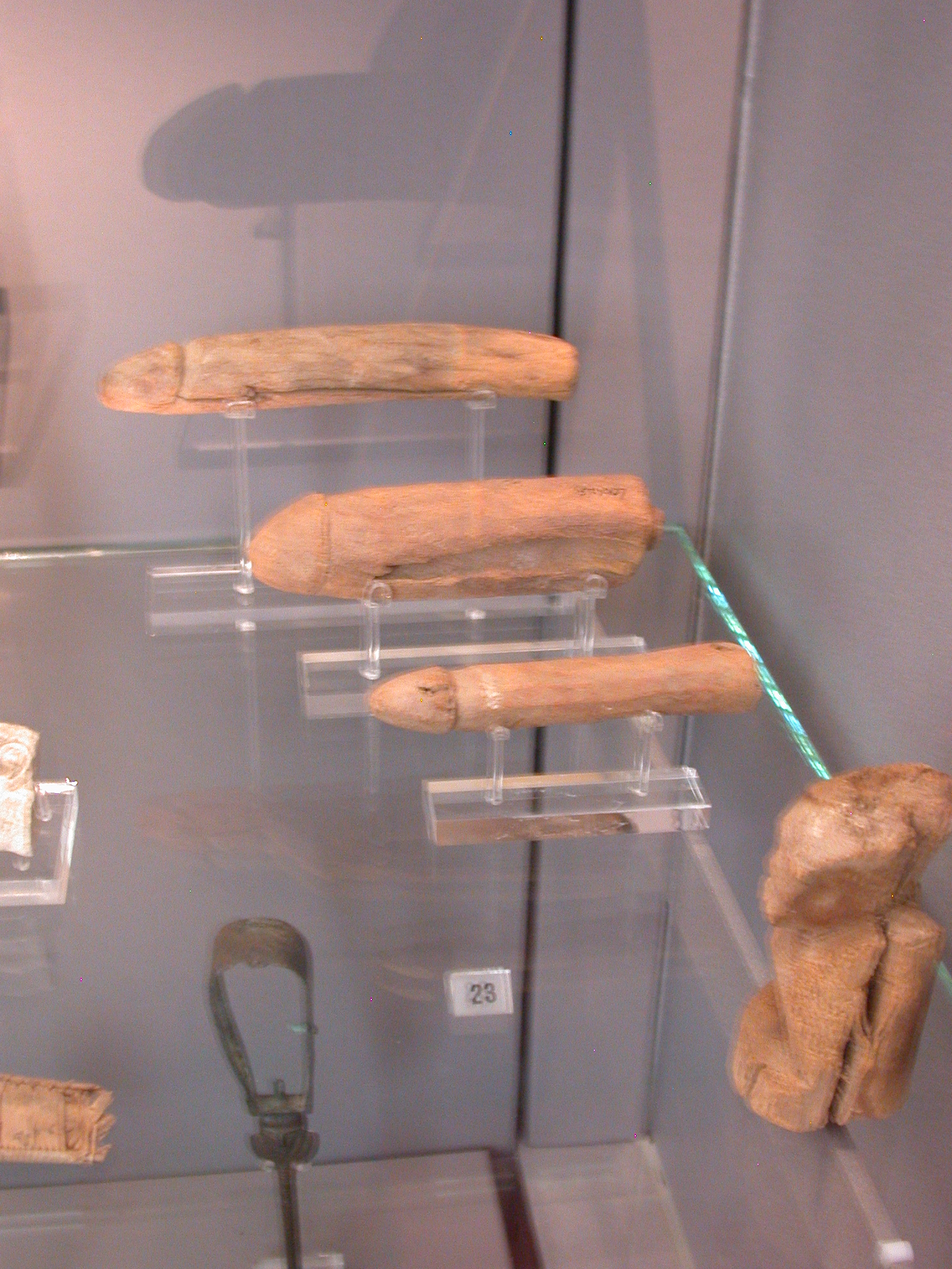 Phallic Fertility Figures, Wood, New Kingdom, 1550-1070 BCE, Montuhotep Temple, Deir el Bahri, Egypt, in Fitzwilliam Museum, Cambridge, England
