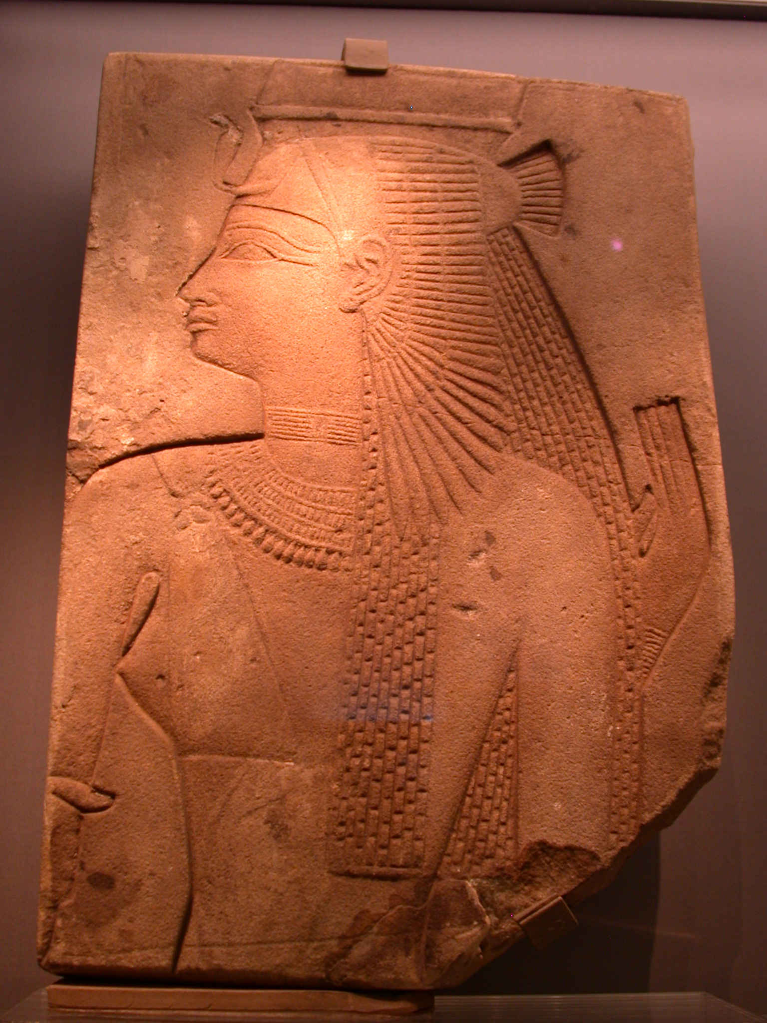 Relief of Amenirdas, Sister of Shabaka, or Shepenwepet, Divine Consort Making Offering, Sandstone, 25th Dynasty, 715-700 BCE, Amenirdas Chapel, Medinat Habu, Egypt, at Fitzwilliam Museum, Cambridge, England