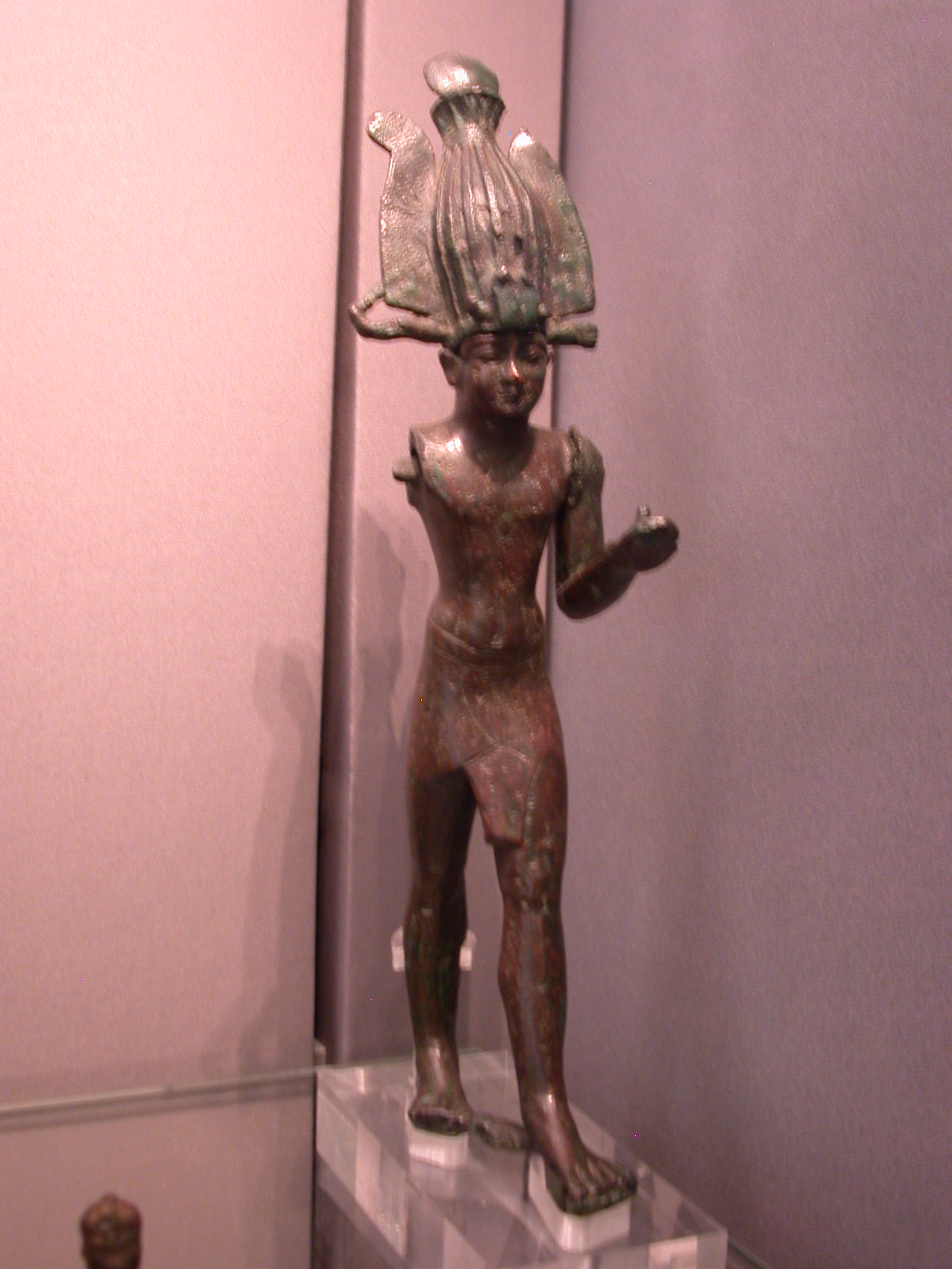 Figurine of Taharqa, Copper Alloy, 25th Dynasty, 690-664 BCE, Egypt, in Fitzwilliam Museum, Cambridge, England