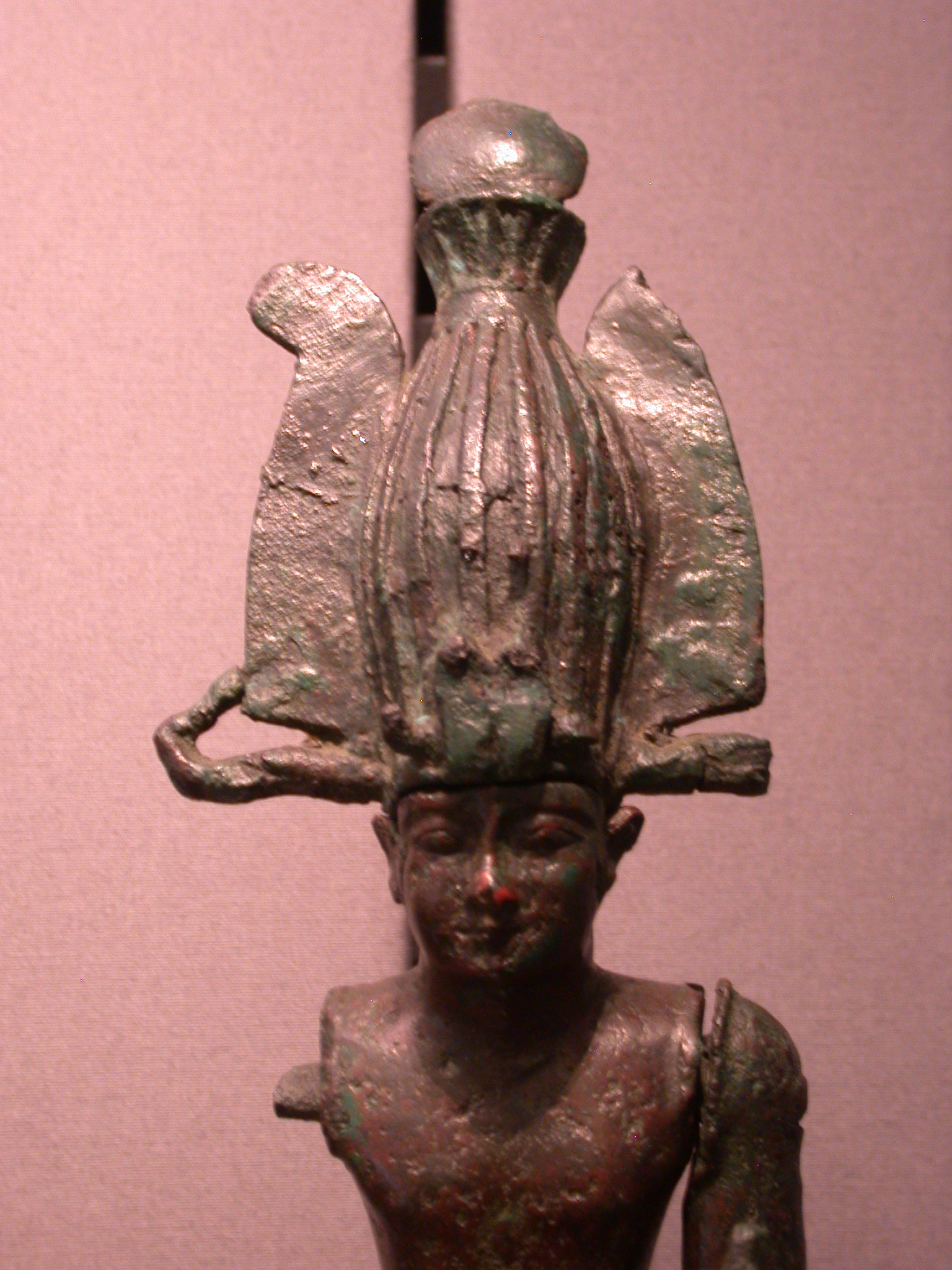 Detail of Figurine of Taharqa, Copper Alloy, 25th Dynasty, 690-664 BCE, Egypt, in Fitzwilliam Museum, Cambridge, England