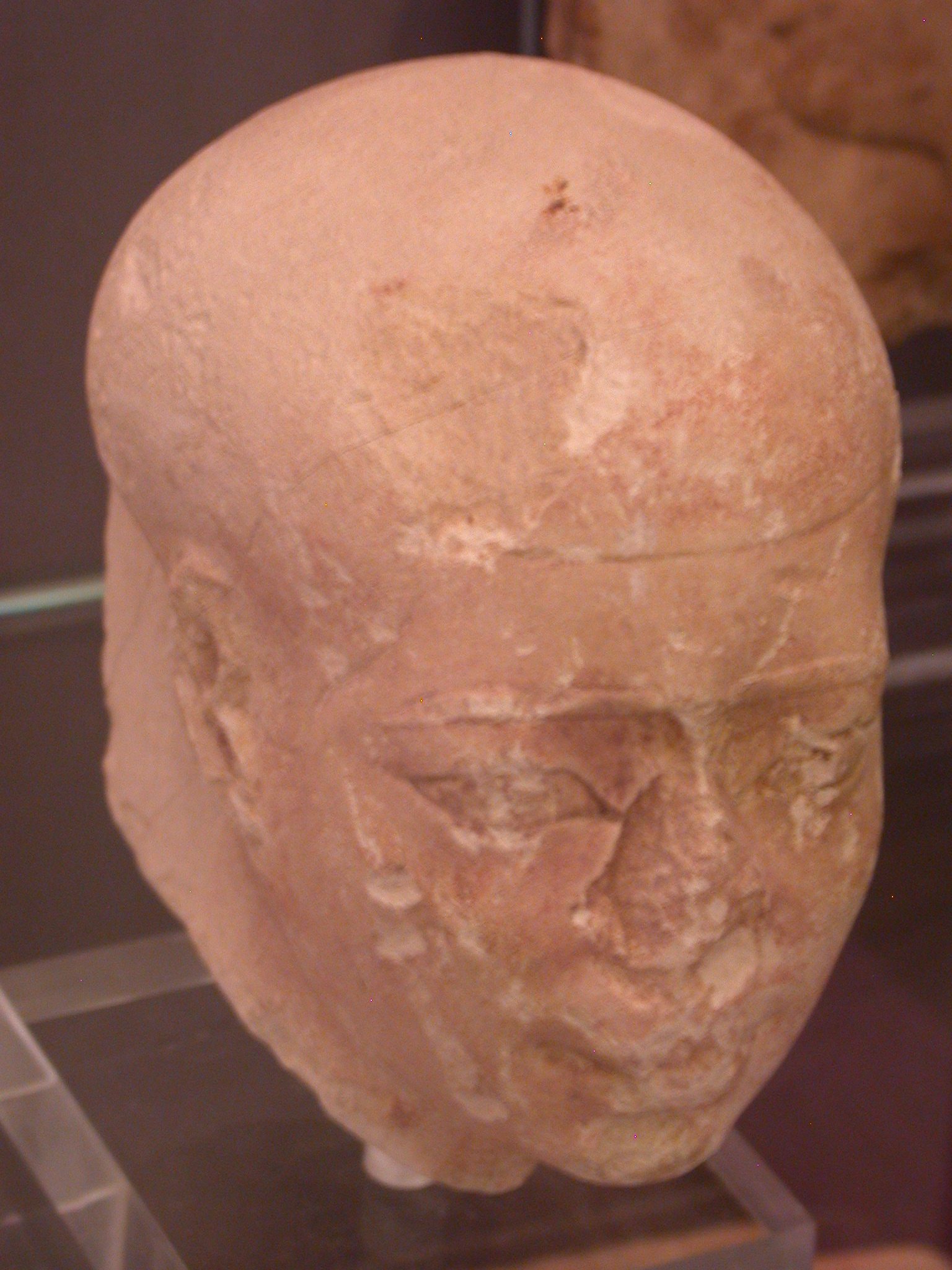 Archaized Painted Head, Limestone, Late Period, 746-525 BCE, Egypt, in Fitzwilliam Museum, Cambridge, England