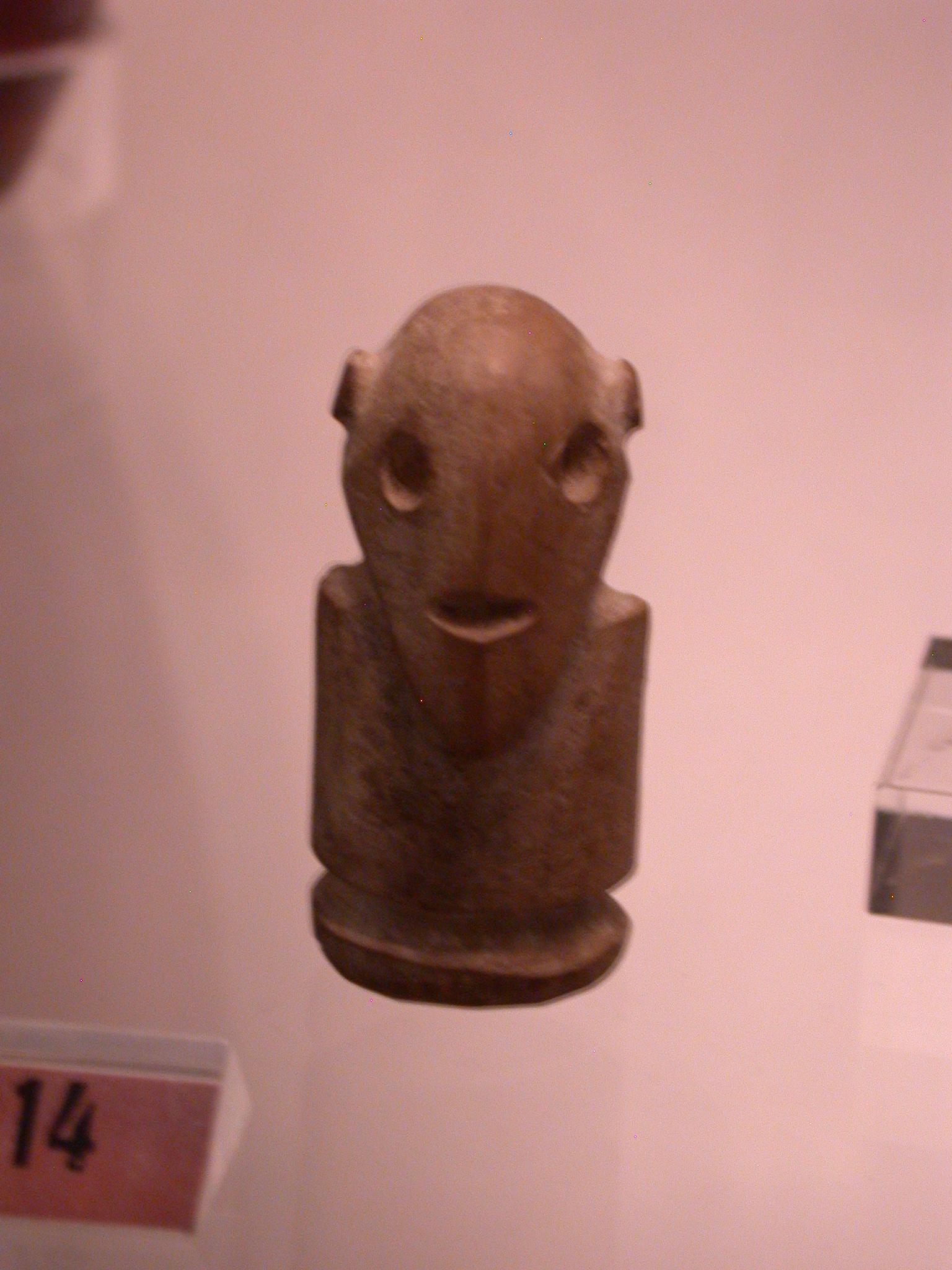 Figure of Man, Limestone, About 3500-3000 BCE, Egypt, in Fitzwilliam Museum, Cambridge, England