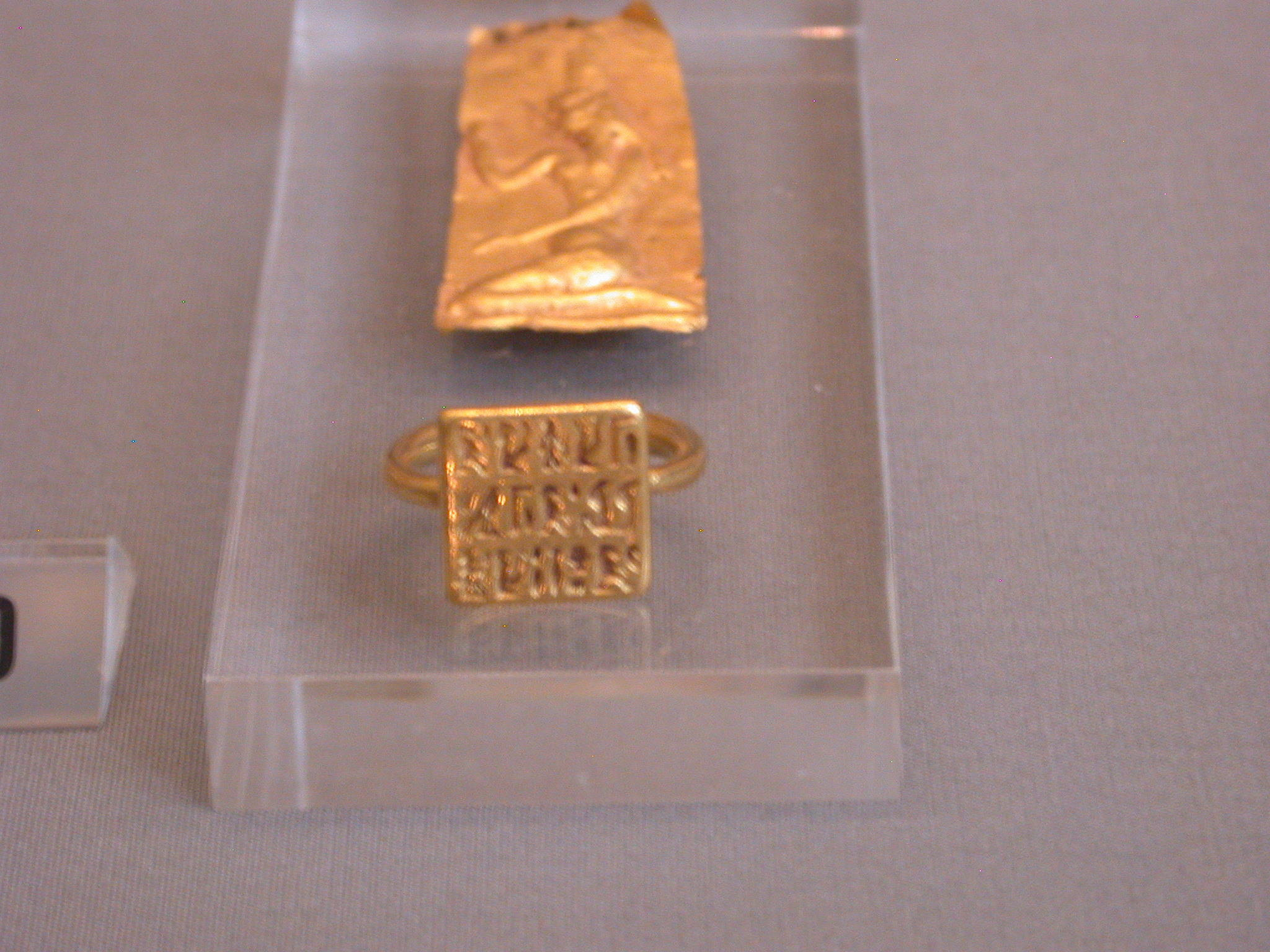 Ring Inscribed With Name of Wearer and Figures of Gods Including Amun, Gold, New Kingdom to Late Period, 1550-336 BCE, Egypt, in Fitzwilliam Museum, Cambridge, England