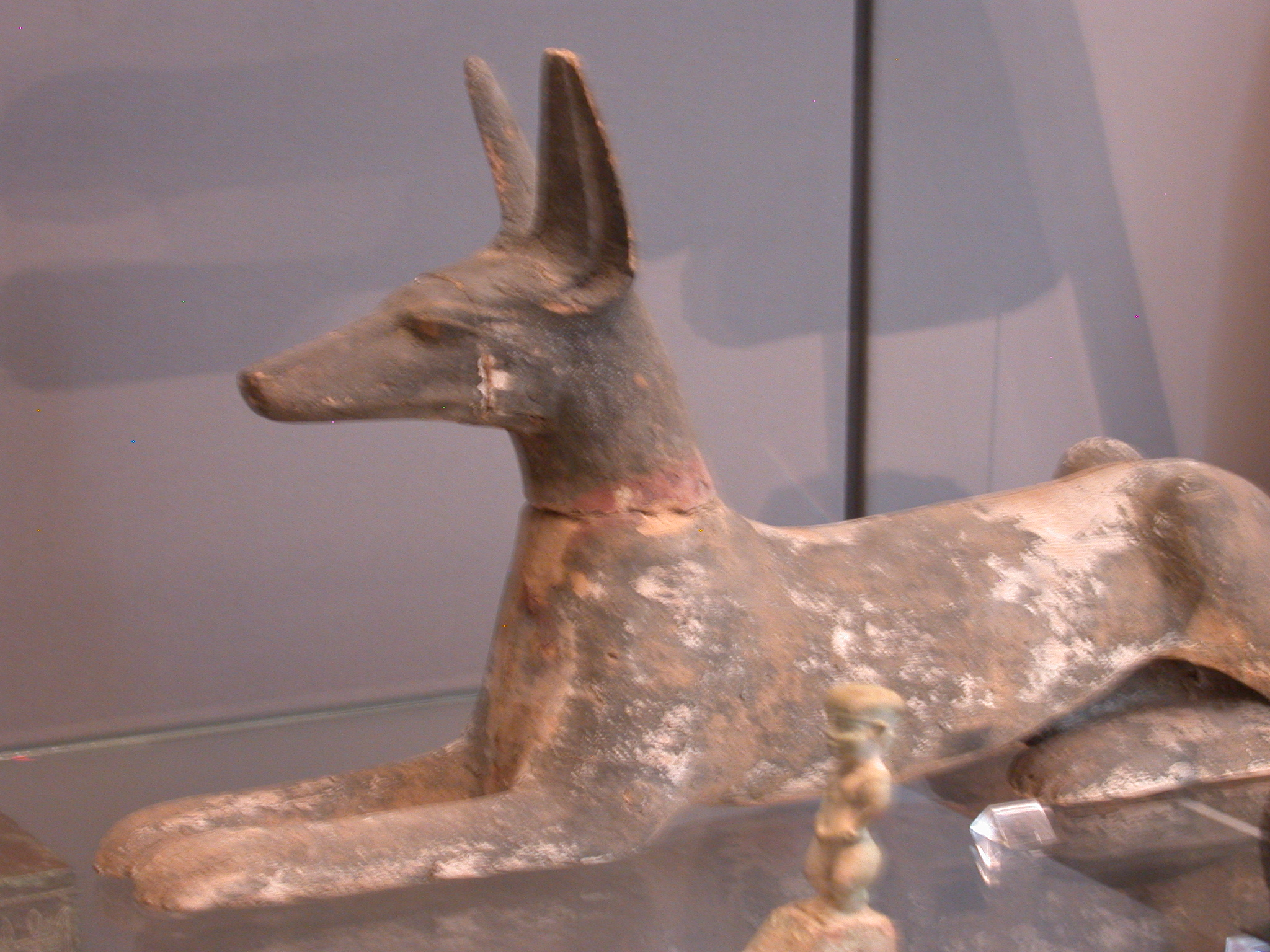 Figure of Anubis as Jackal, Painted Wood, Third Intermediate Period, 1070-714 BCE, Egypt, in Fitzwilliam Museum, Cambridge, England