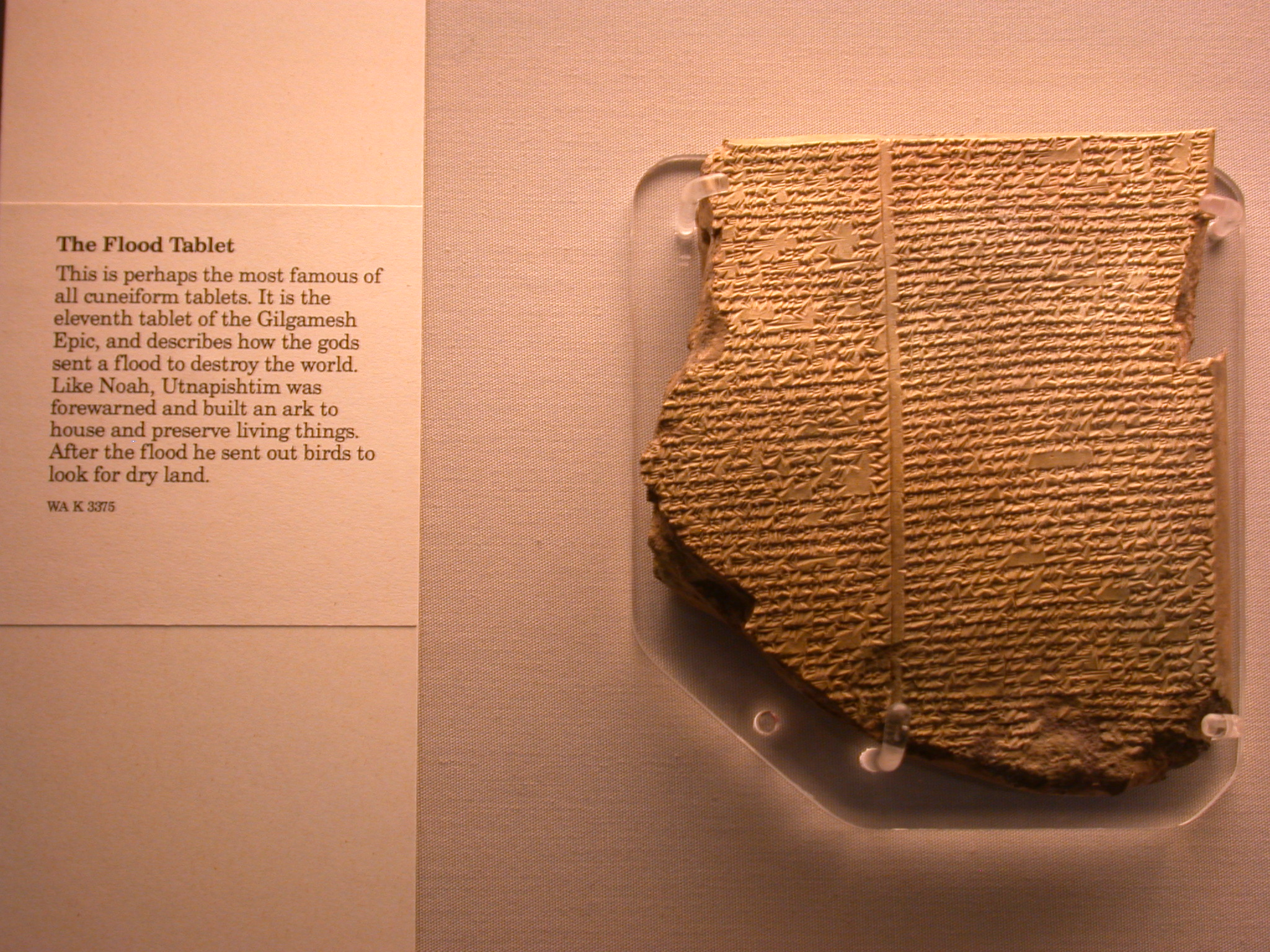 Flood Tablet, 11th Tablet of Gilgamesh Epic, Utnapishtim and the Ark, Cuneiform, Assyrian, in British Museum, London, England