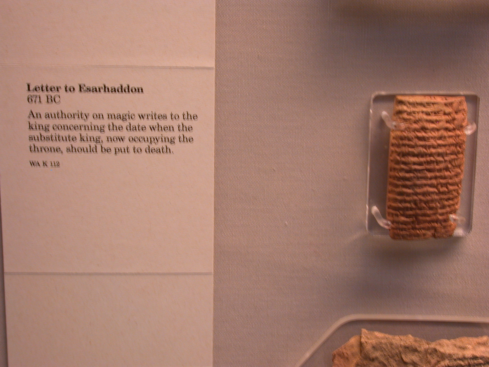 Letter to Esarhaddon From Magician About Death Date for Substitute King, 671 BCE, Assyria, in British Museum, London, England