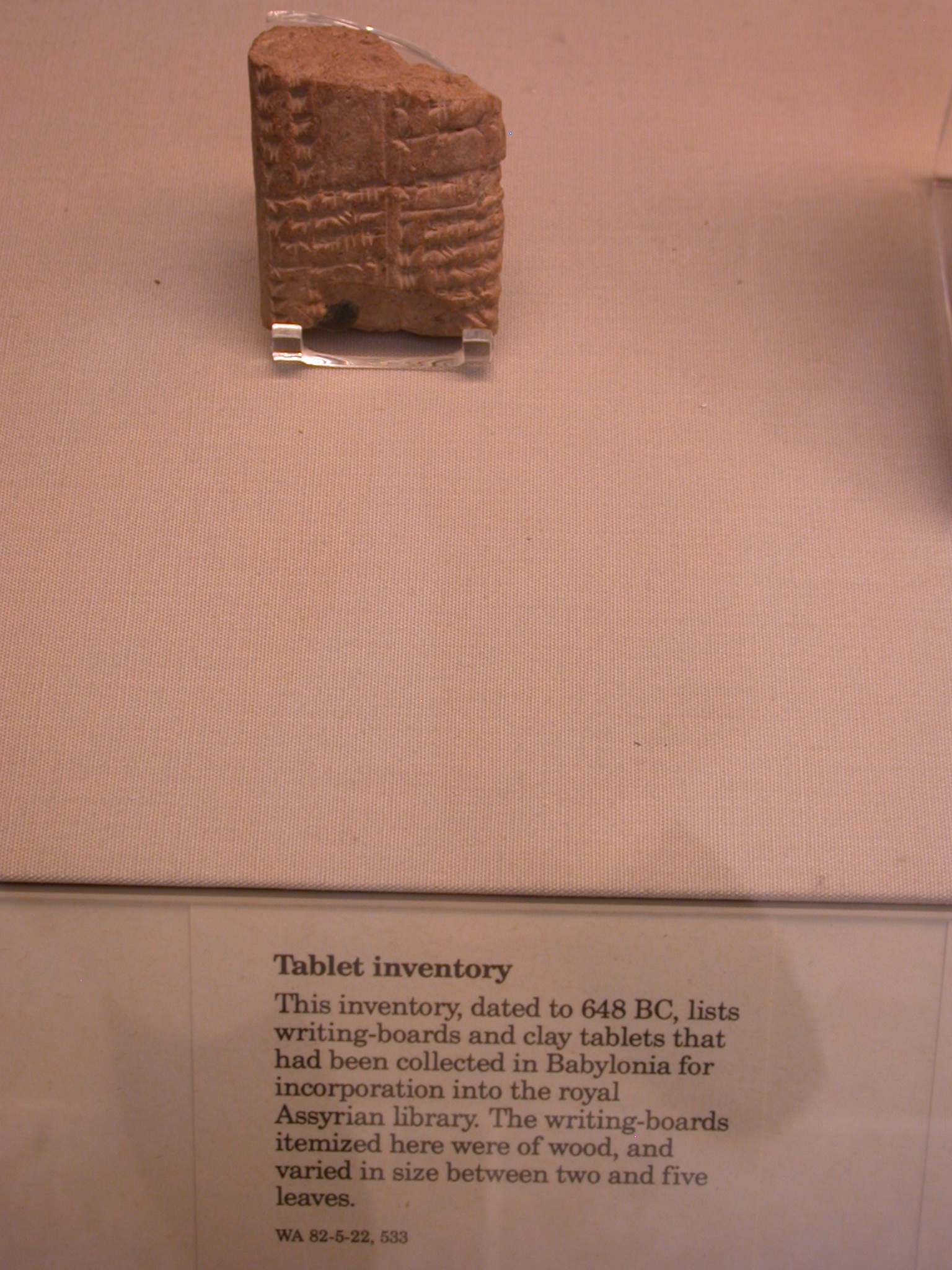 List of Babylonian Writing Boards and Clay Tablets for Royal Library, 648 BCE, Assyria, in British Museum, London, England