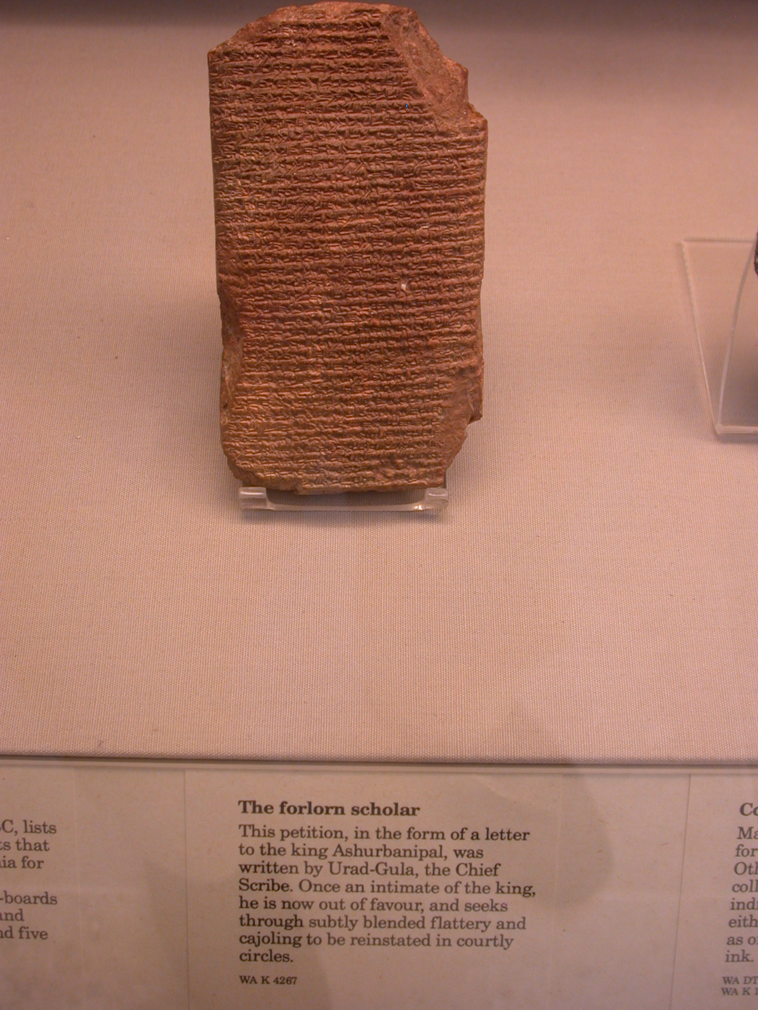 Petition From Chief Scribe Urad-Gula to Ashurbanipal, Cuneiform Tablet, Assyria, in British Museum, London, England
