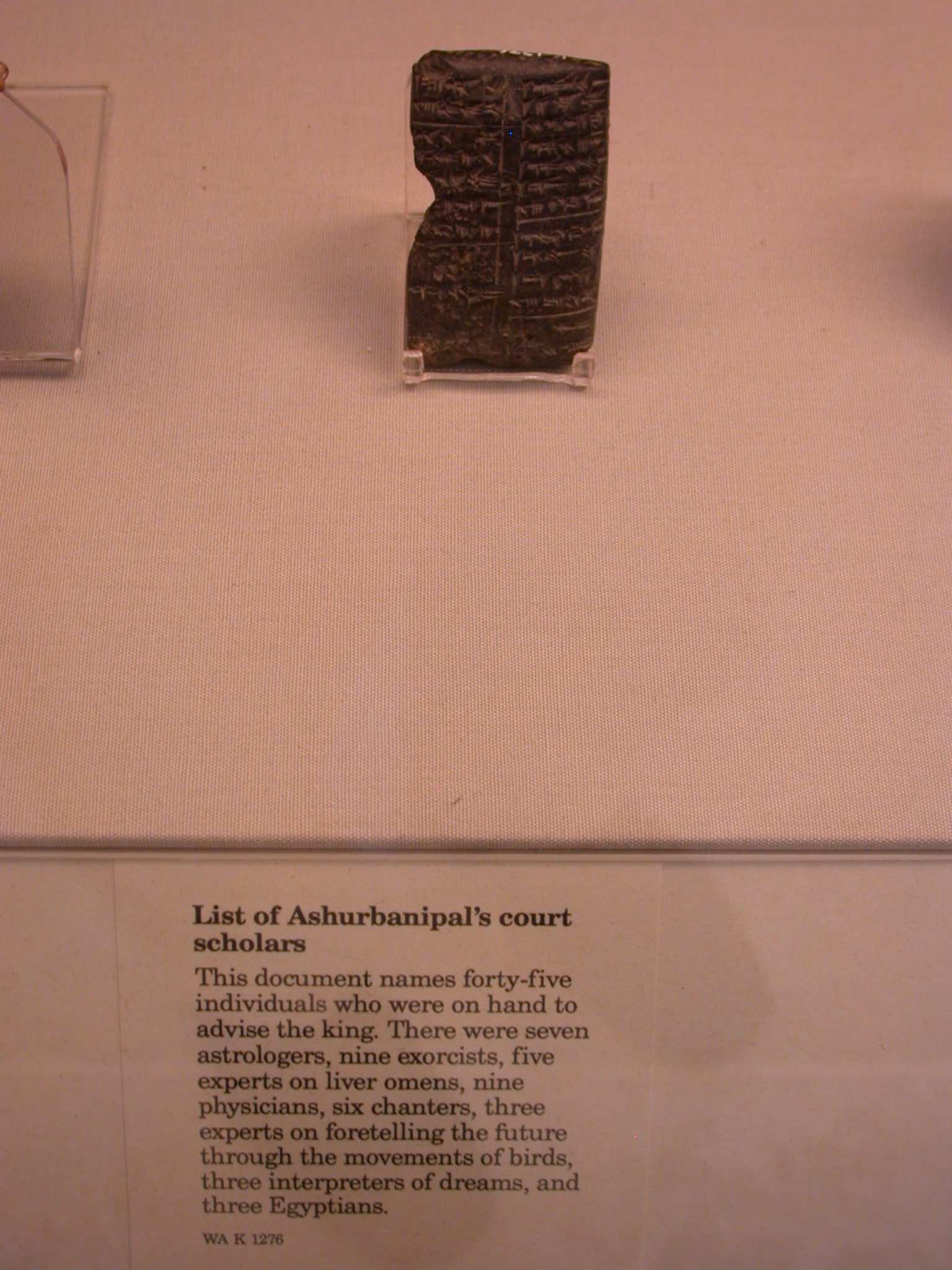 List of Court Scholars of Ashurbanipal Including Three Egyptians, Cuneiform Tablet, Assyria, in British Museum, London, England