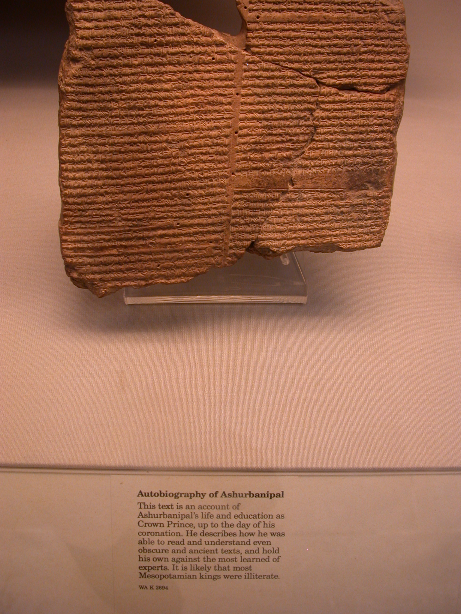 Autobiography of Ashurbanipal, Cuneiform Tablet, Assyria, in British Museum, London, England