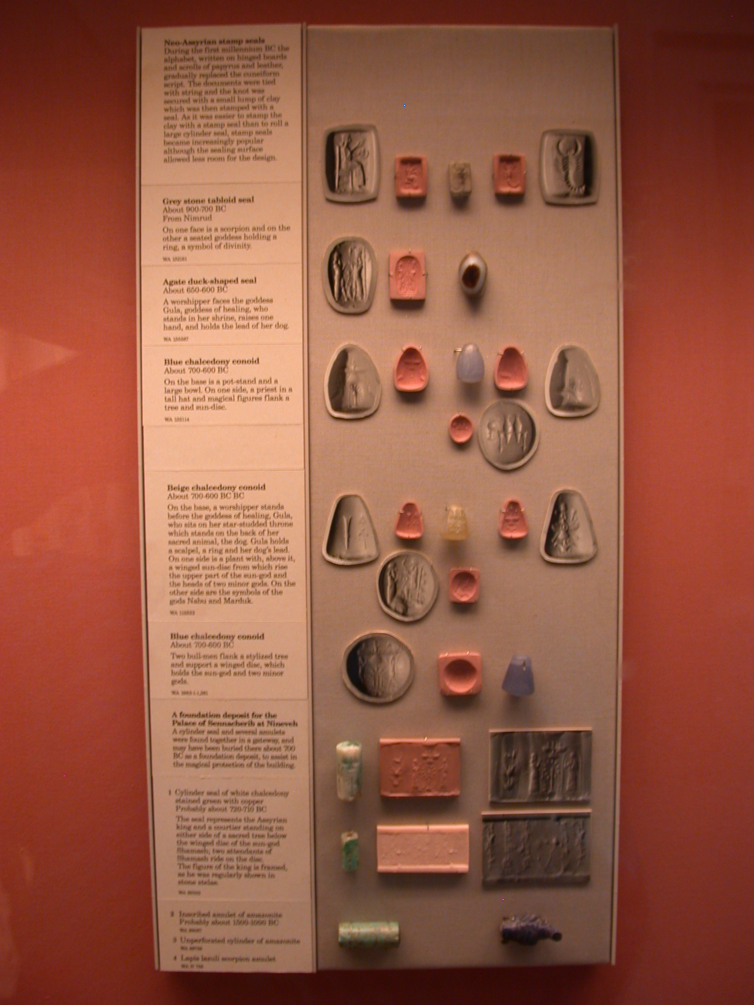 Neo-Assyrian Stamp Seals, Mostly 900-600 BCE, in British Museum, London, England