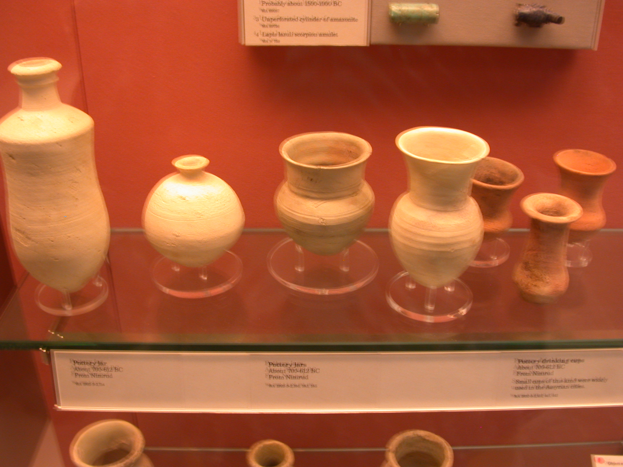 Pottery Jars and Drinking Cups, About 700-612 BCE, Nimrud, Assyria, in British Museum, London, England