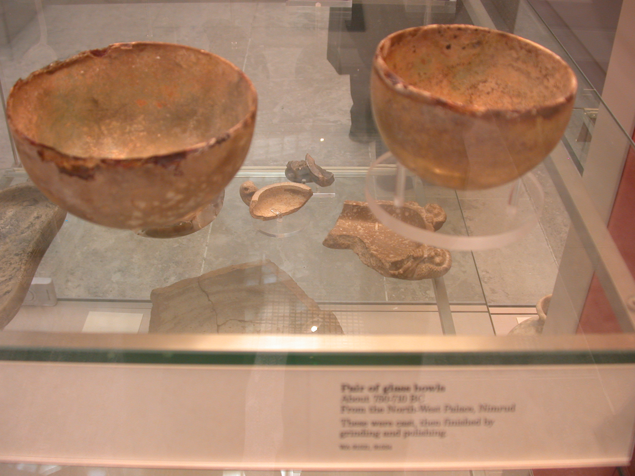 Pair of Glass Bowls, About 790-710 BCE, Northwest Palace, Nimrud, Assyria, in British Museum, London, England