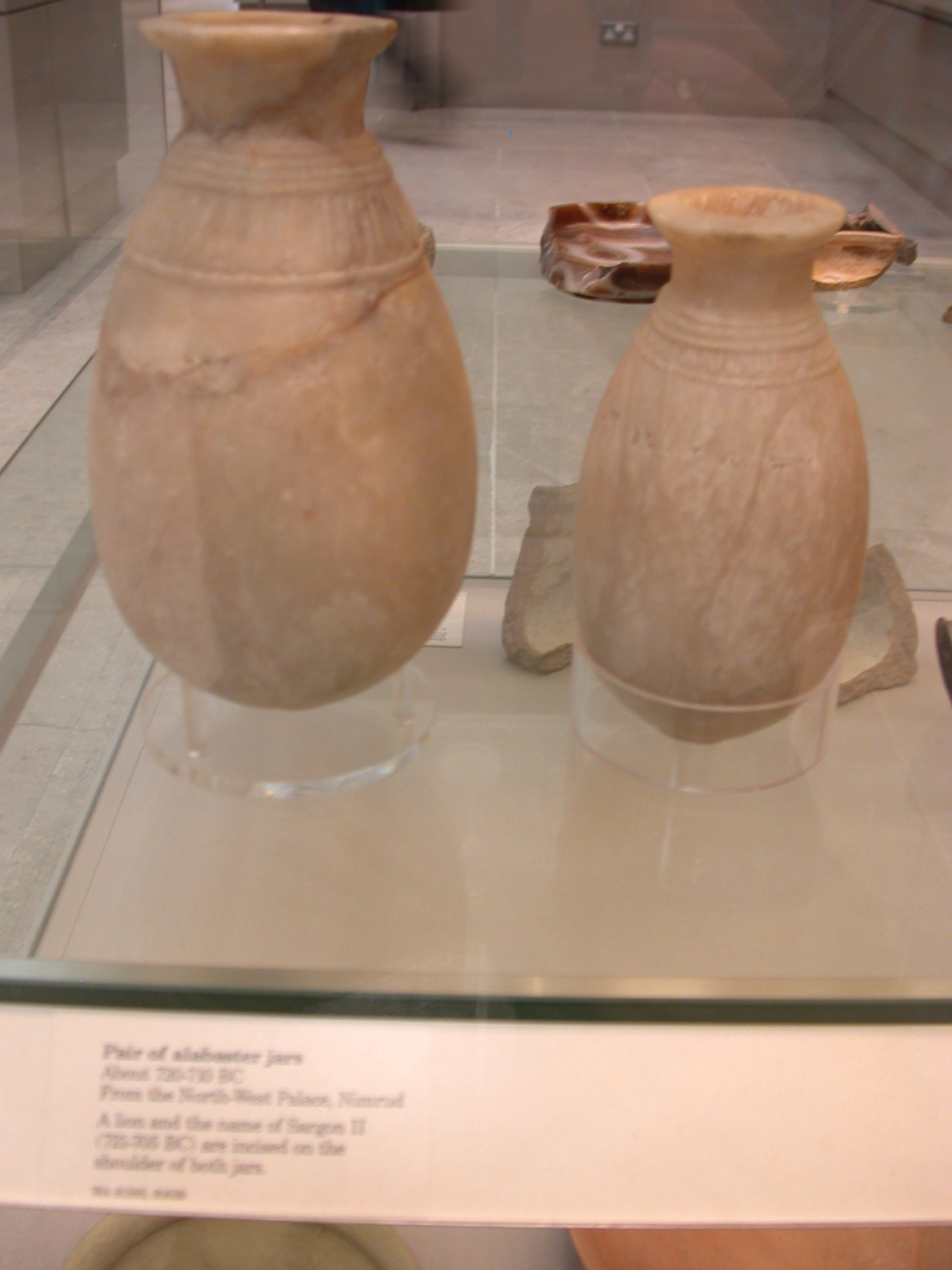 Pair of Alabaster Jars Incised With Lion and Name of Sargon II, About 720-710 BCE, Northwest Palace, Nimrud, Assyria, in British Museum, London, England