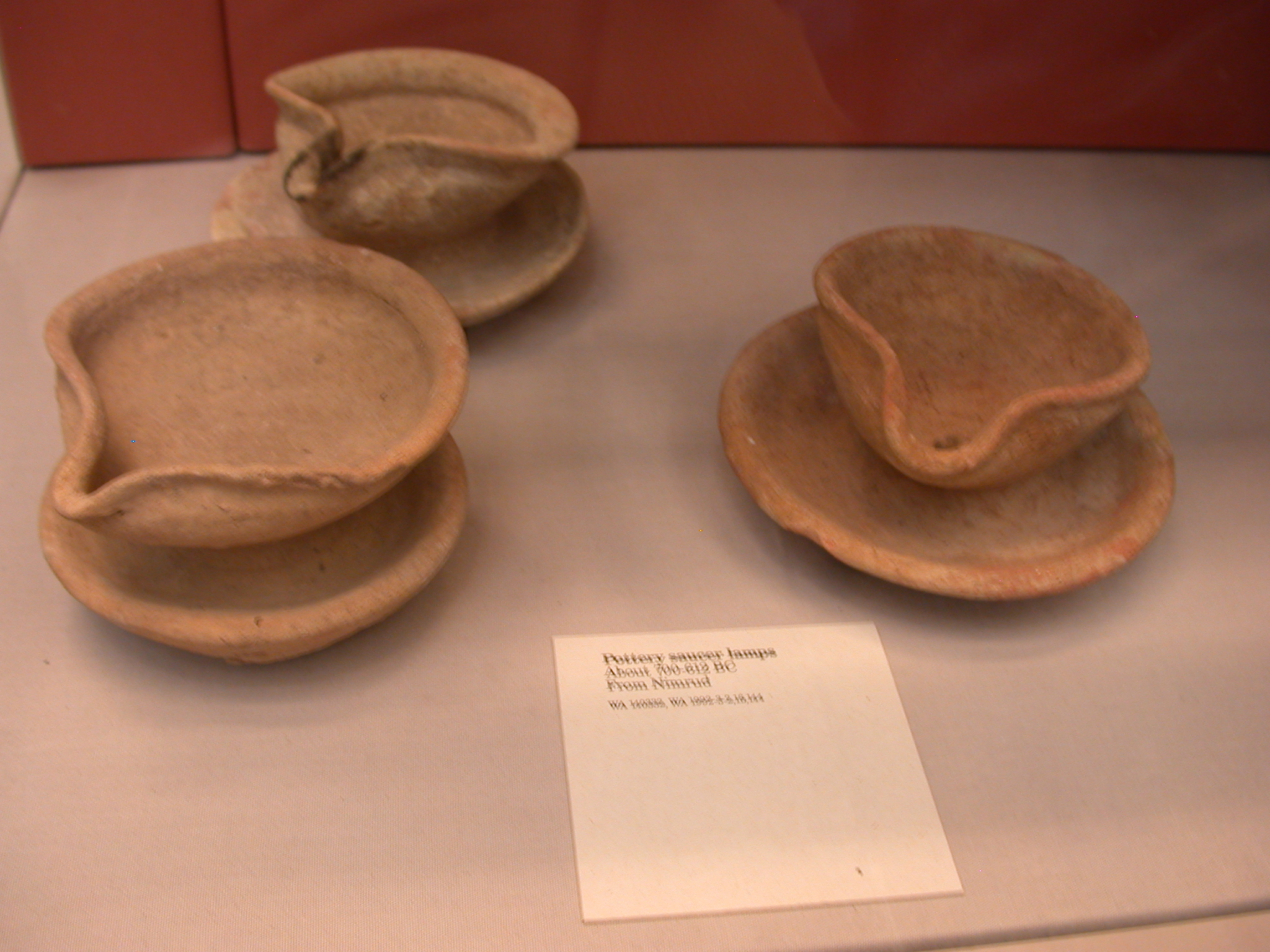 Pottery Saucer Lamps, About 700-612 BCE, Nimrud, Assyria, in British Museum, London, England