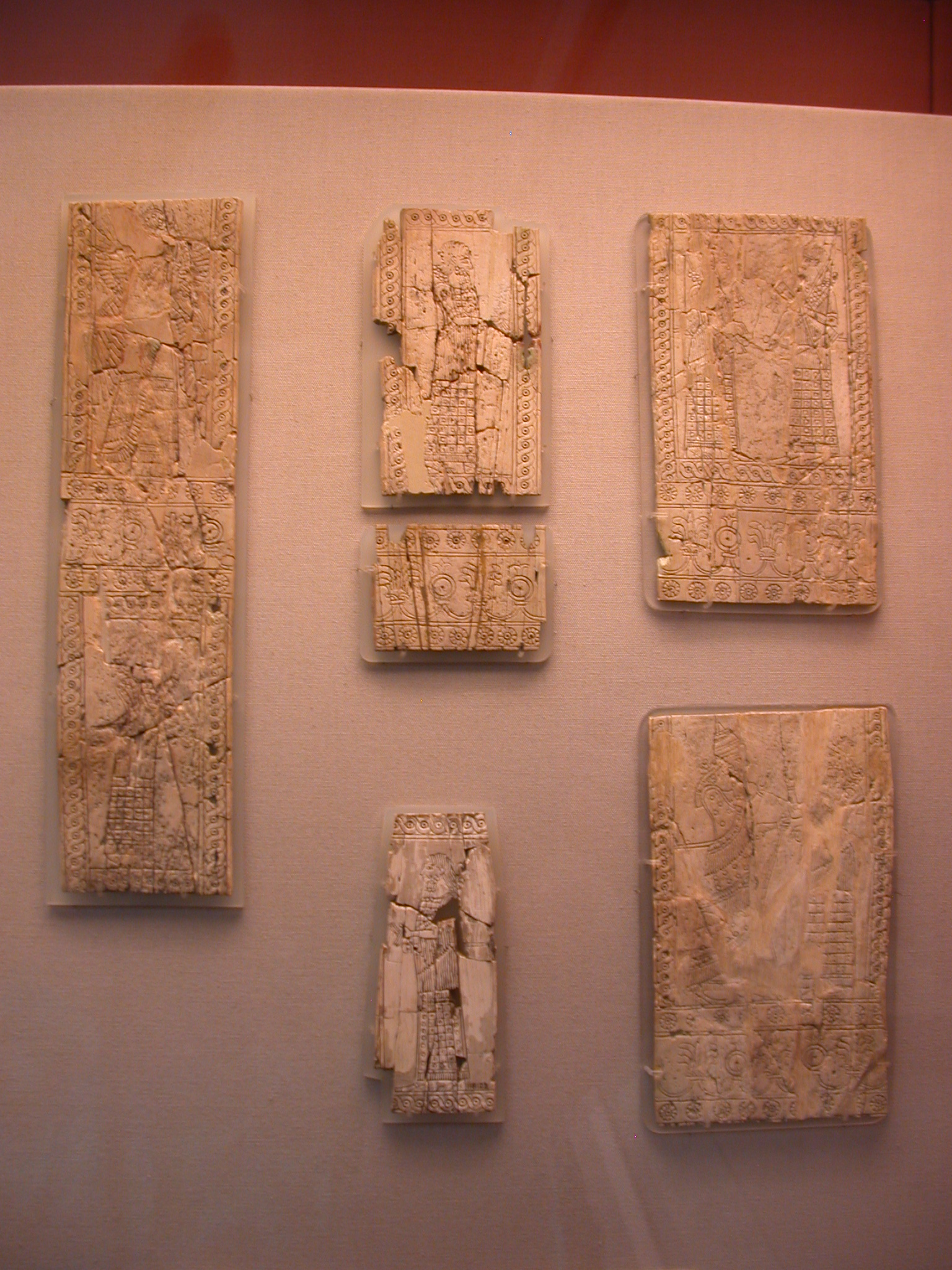 Panels Representing King, Officials, Guards, and Protective Spirits, Perhaps From Quiver, Ivory, About 730-710 BCE, Nimrud, Assyria, in British Museum, London, England