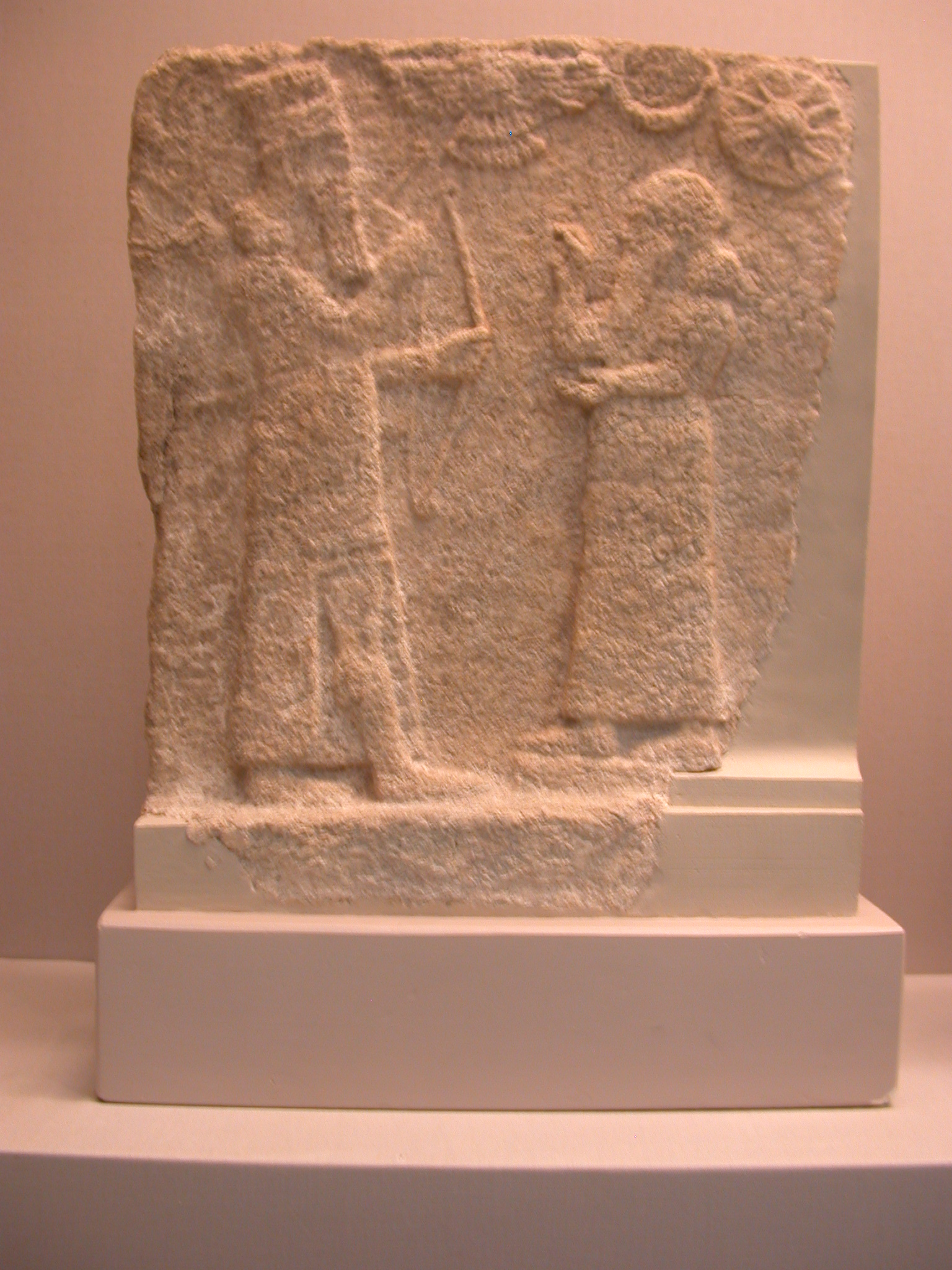 Assyrian in Court Dress Worshipping Shrine, Perhaps Ninurta, Domestic Shrine Tile, Gypsum, About 800-700 BCE, Ashur, Assyria, in British Museum, London, England