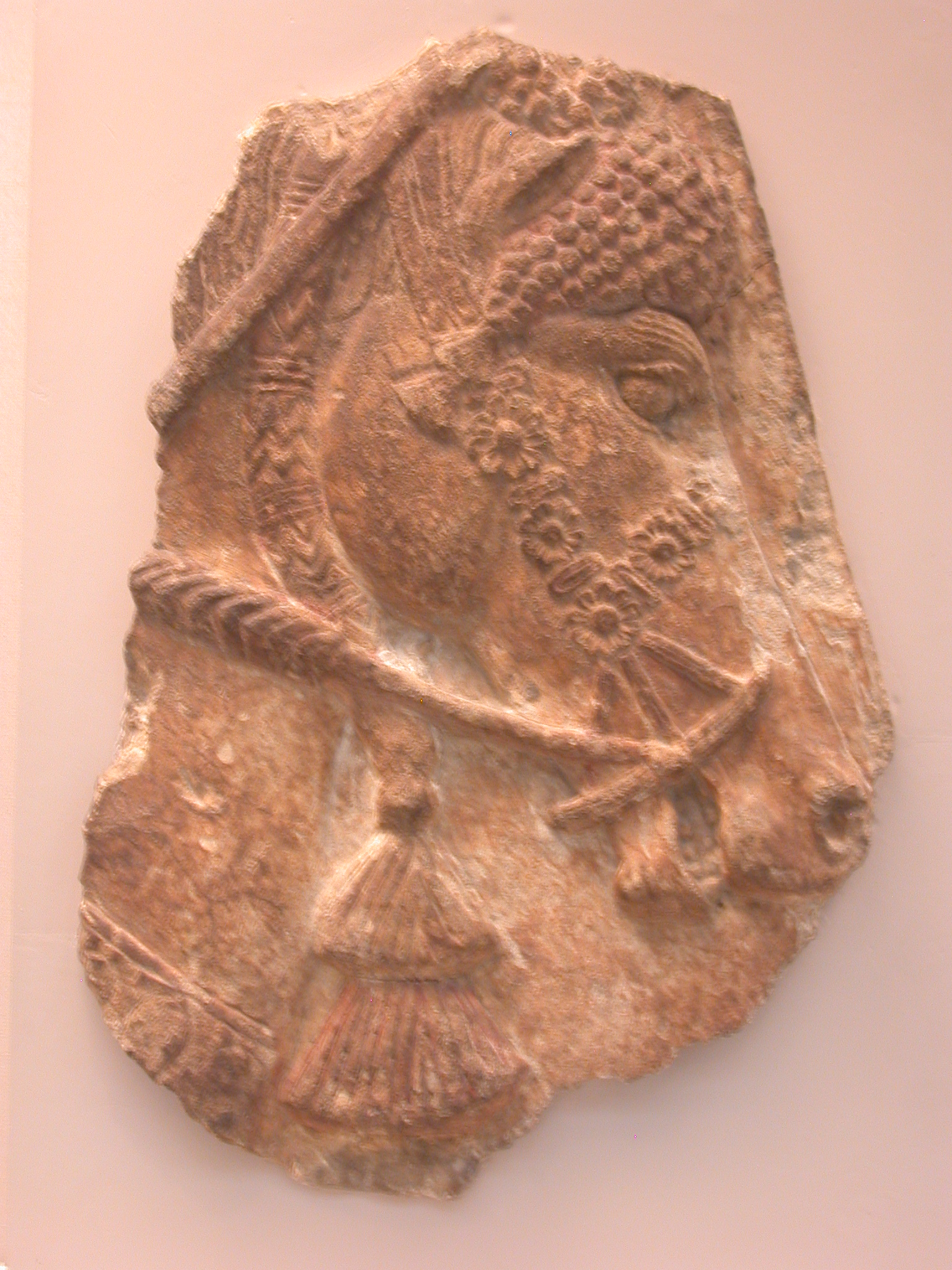 Horse Head With Elaborate Harness, Gypsum Wall Panel, About 710 BCE, Palace of Sargon, Khorsabad, Assyria, in British Museum, London, England
