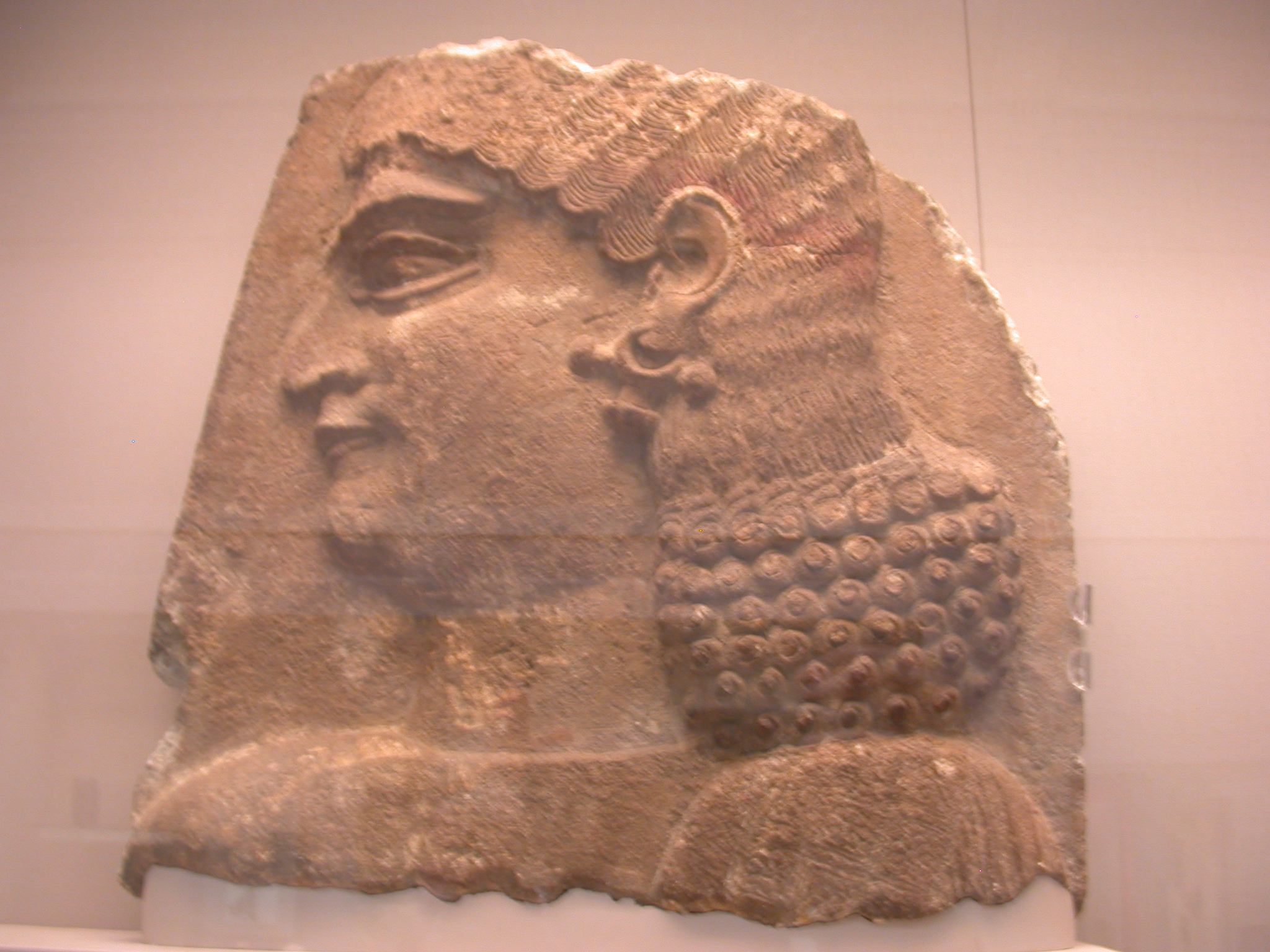 Head of a Eunuch Wearing Red Headband, Gypsum Wall Panel, About 710 BCE, Palace of Sargon, Khorsabad, Assyria, in British Museum, London, England