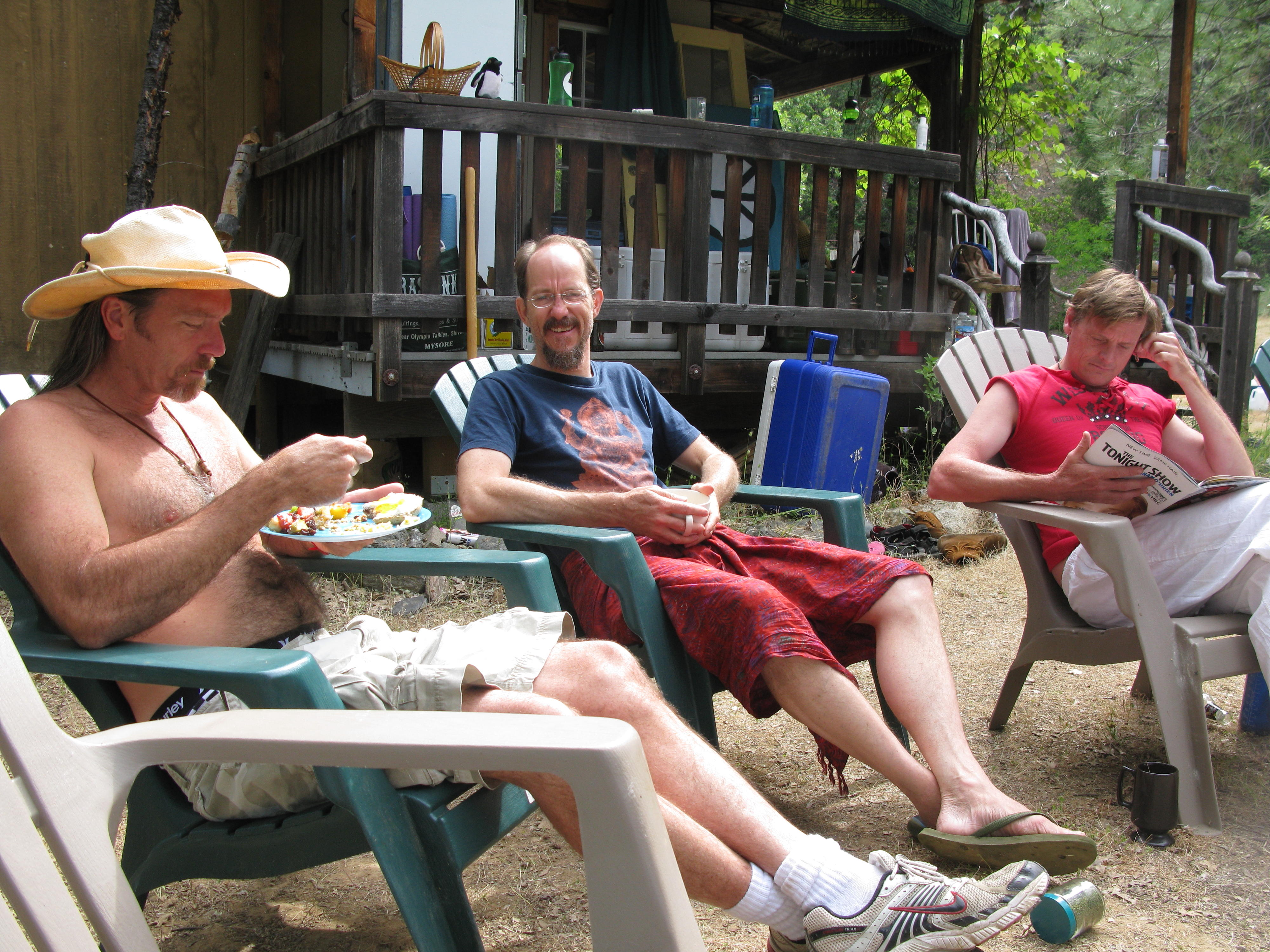 Jim Umeboshi and Mitcho Sitting in Front of the Cabin, Covelo Yoga and Healing Festival