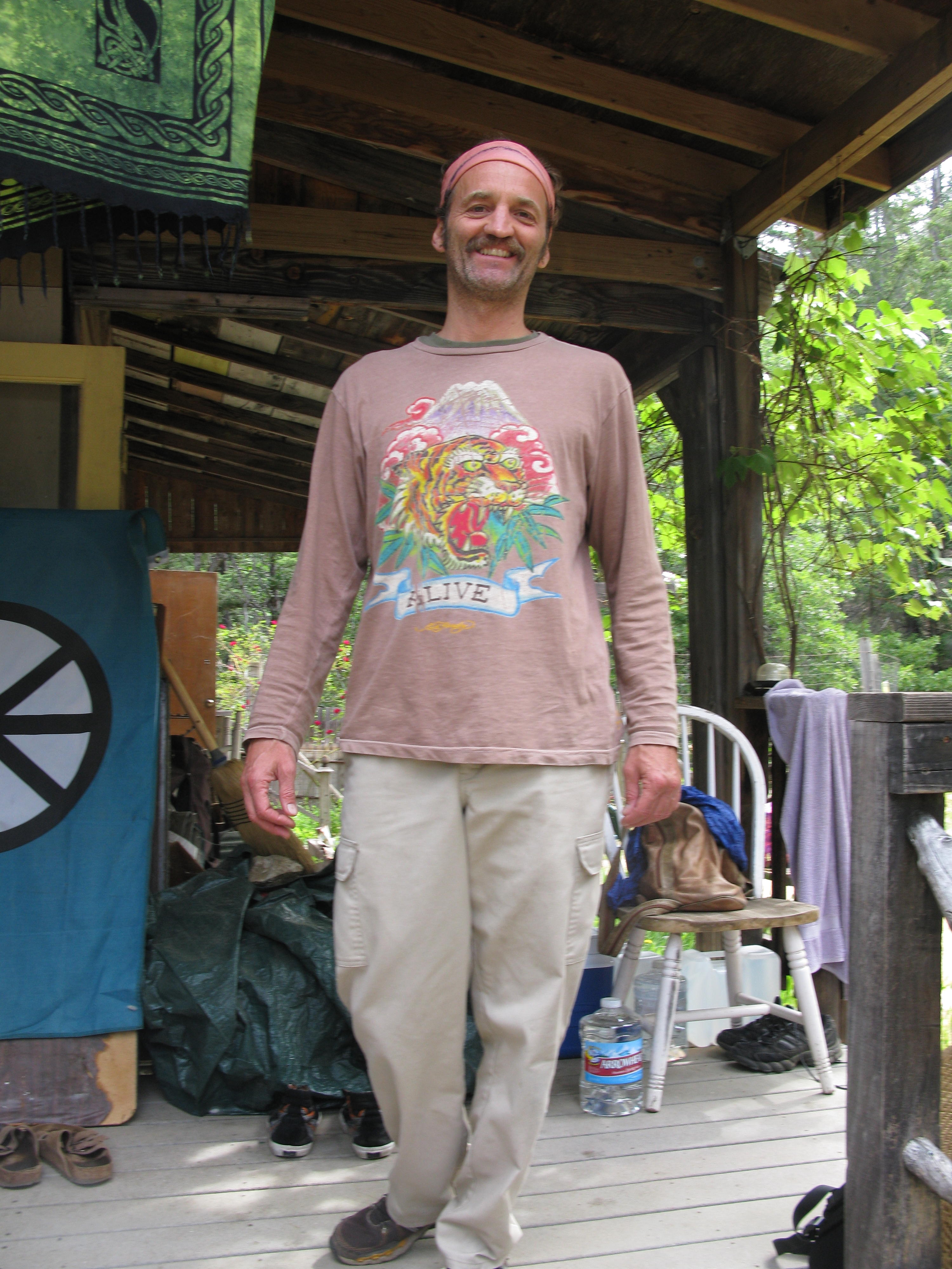 Jnani on Porch of Cabin, Covelo Yoga and Healing Festival