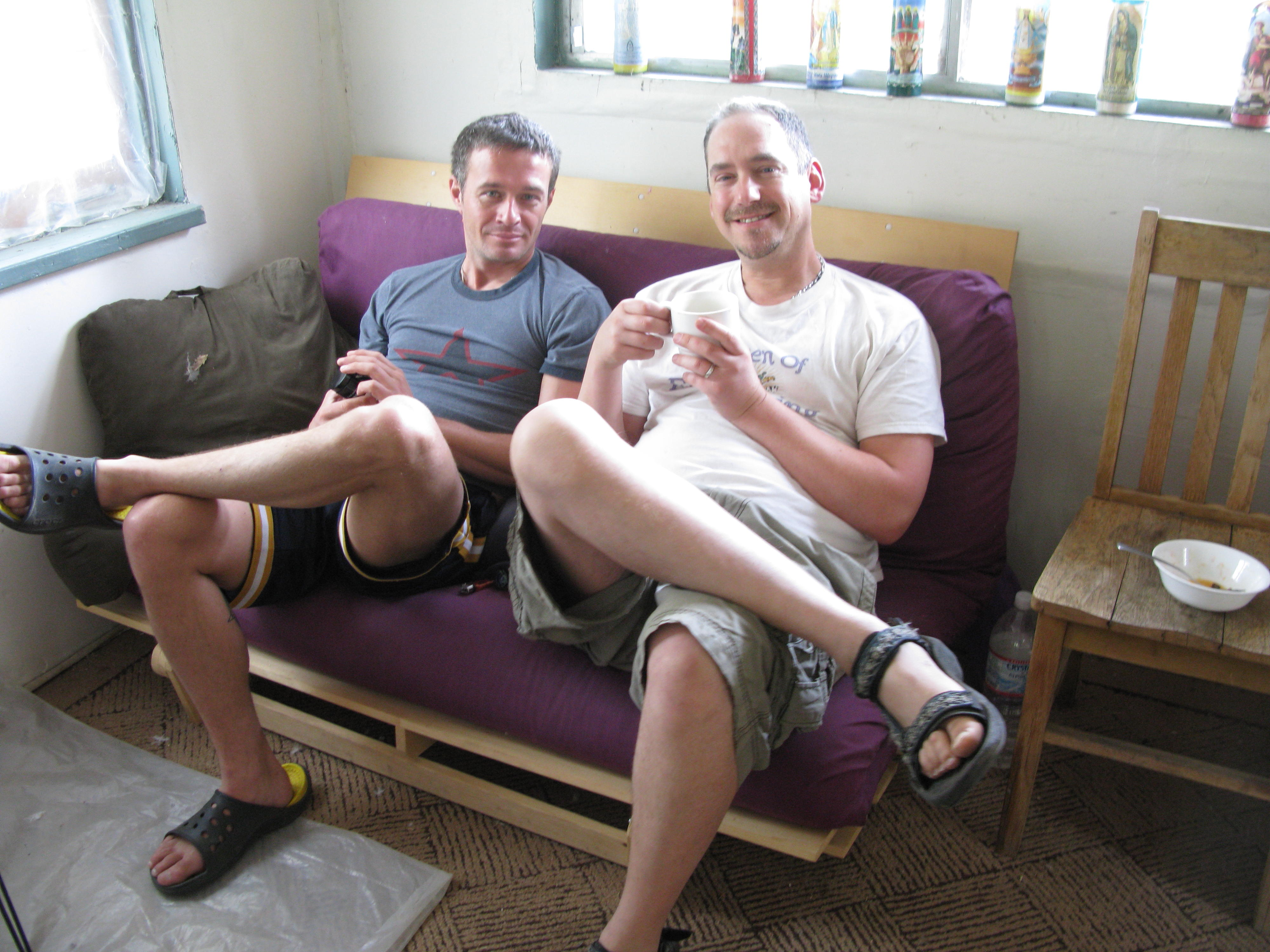 Michael and Pachez Sitting in Cabin, Covelo Yoga and Healing Festival
