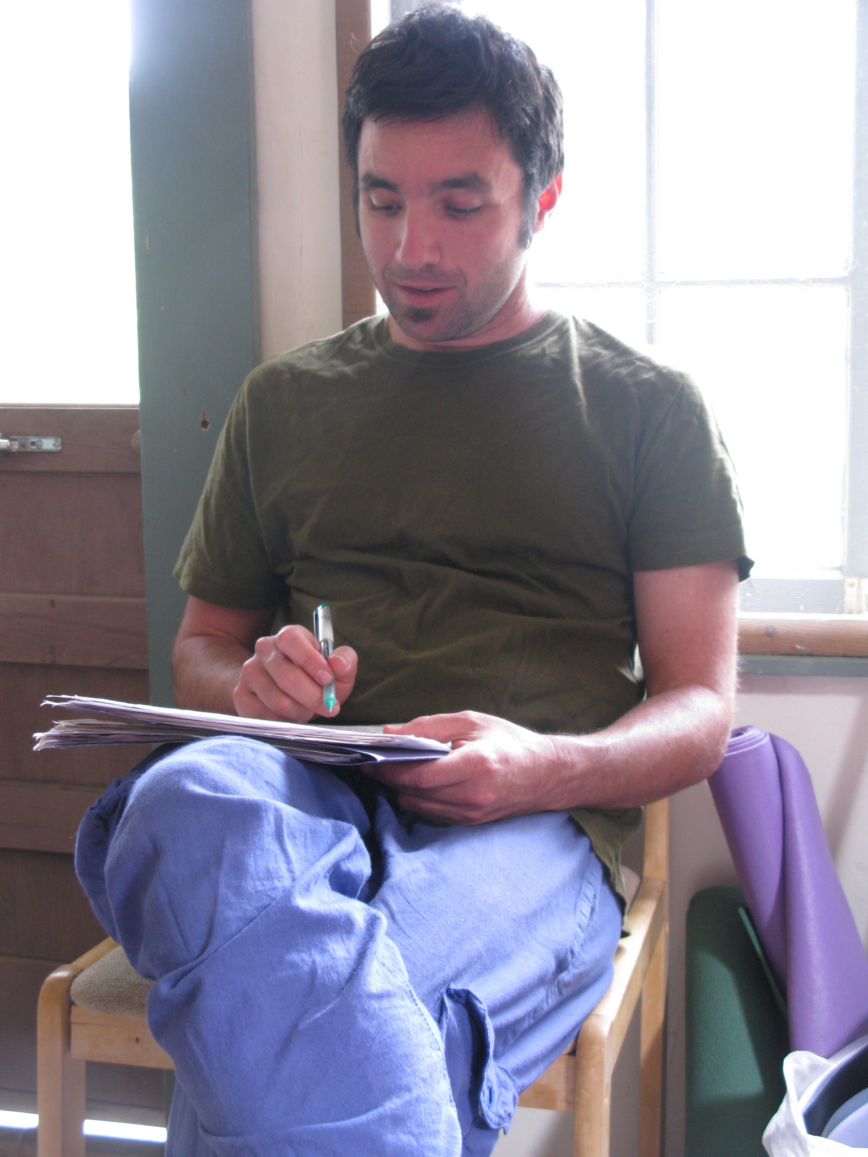 David Grading Finals in Cabin, Covelo Yoga and Healing Festival