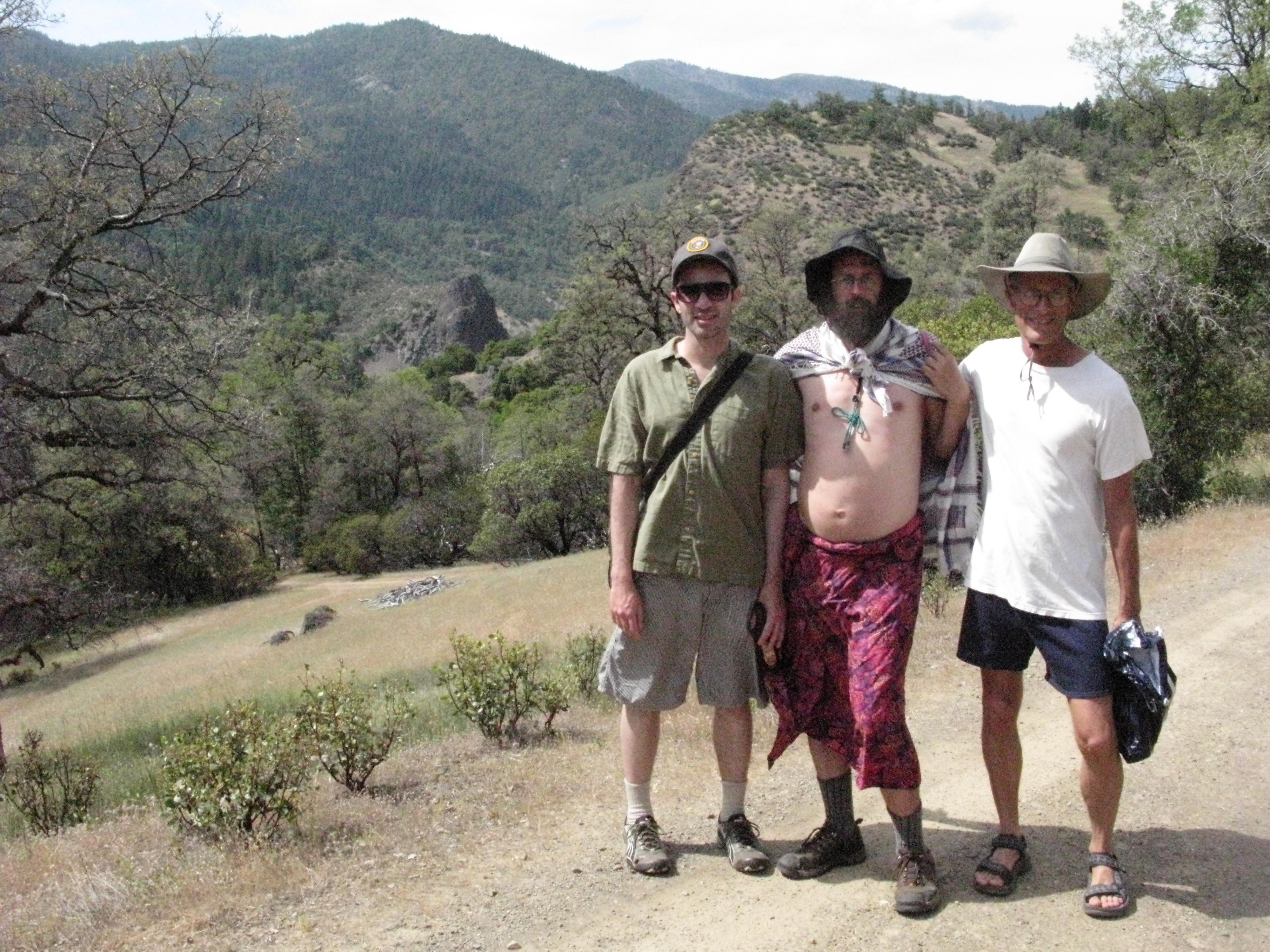 Dale Chrissy and Randy on the Road to Cabin, Covelo Yoga and Healing Festival