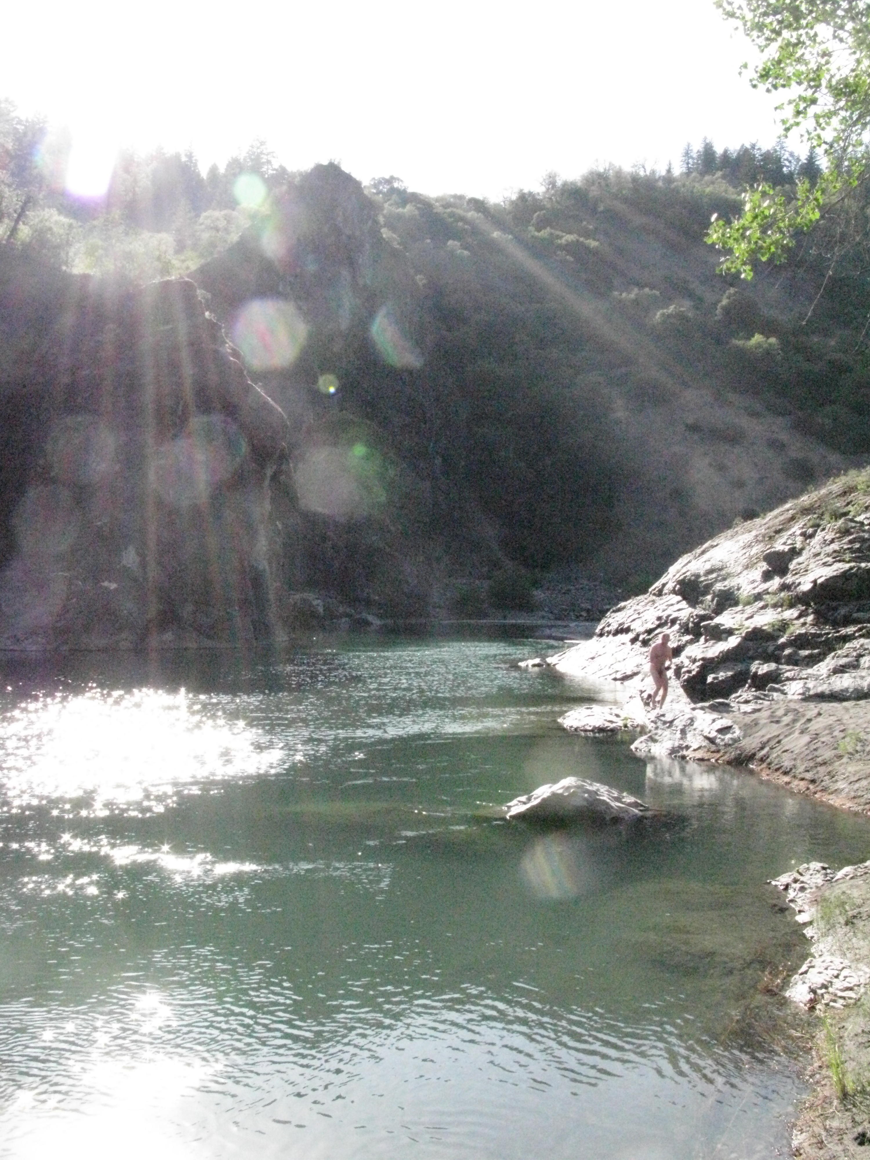 Translucent Hexagonal Entities in Radiant Sun Over Eel River, Covelo Yoga and Healing Festival